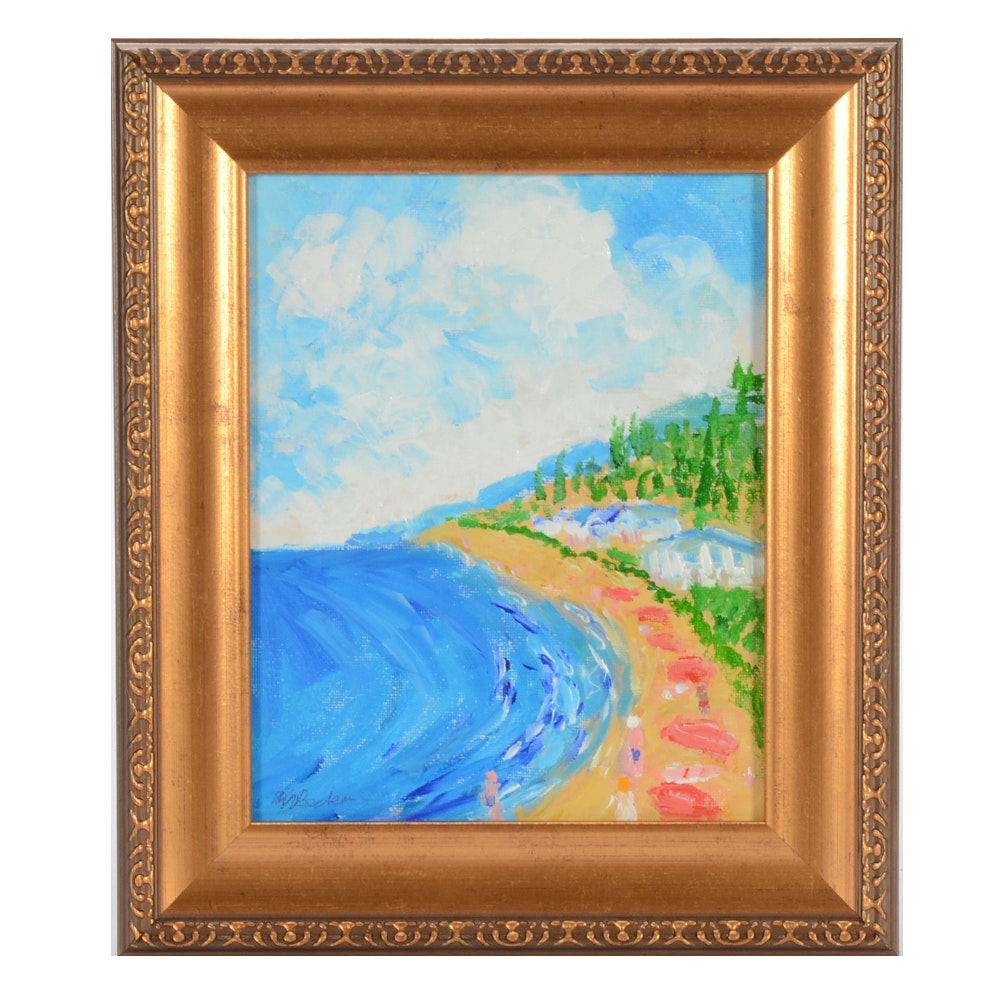 """Will Becker Acrylic Painting on Canvas Board """"Come to the Beach"""""""