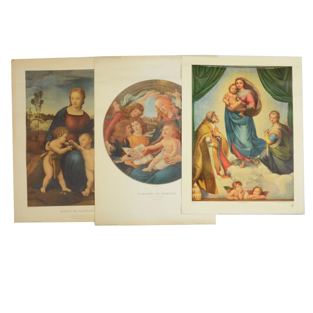 Collection of Offset Lithograph Posters after Botticelli and Raphael