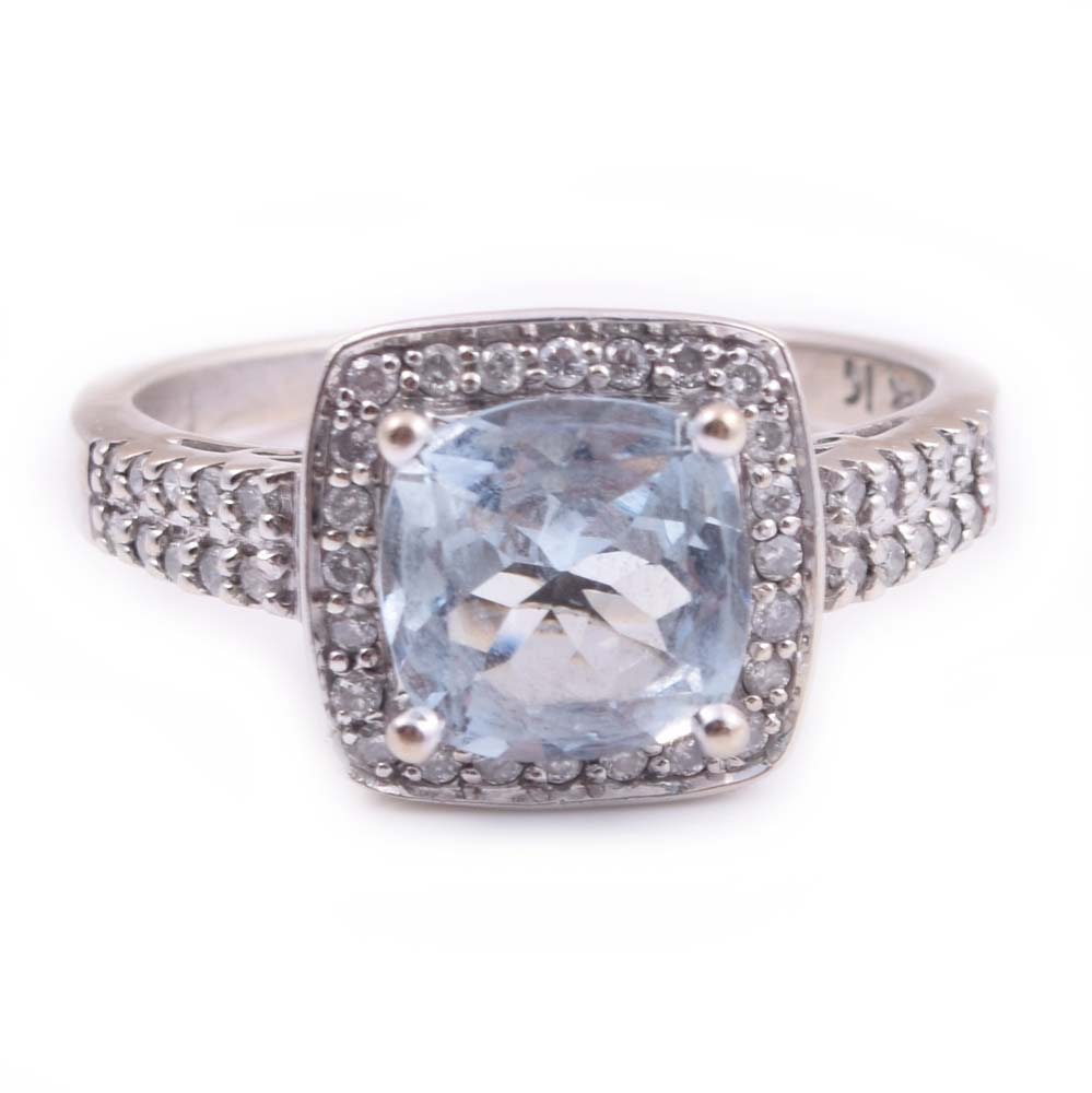 14K White Gold 1.75 CT Aquamarine and Diamond Ring