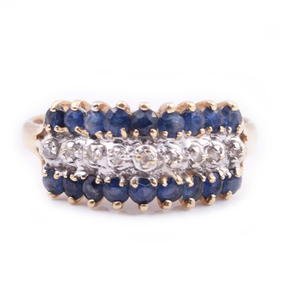 10K Yellow Gold, Sapphire, and Diamond Ring
