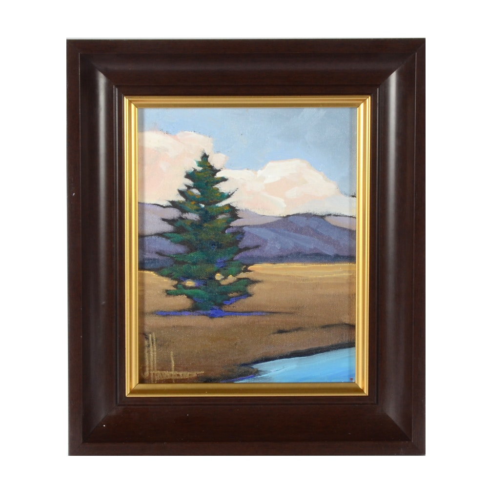 William Hawkins Original Oil Painting of a Landscape