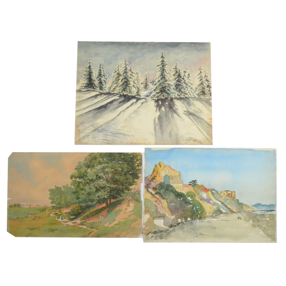 Collection of Watercolor and Gouache Landscape Paintings
