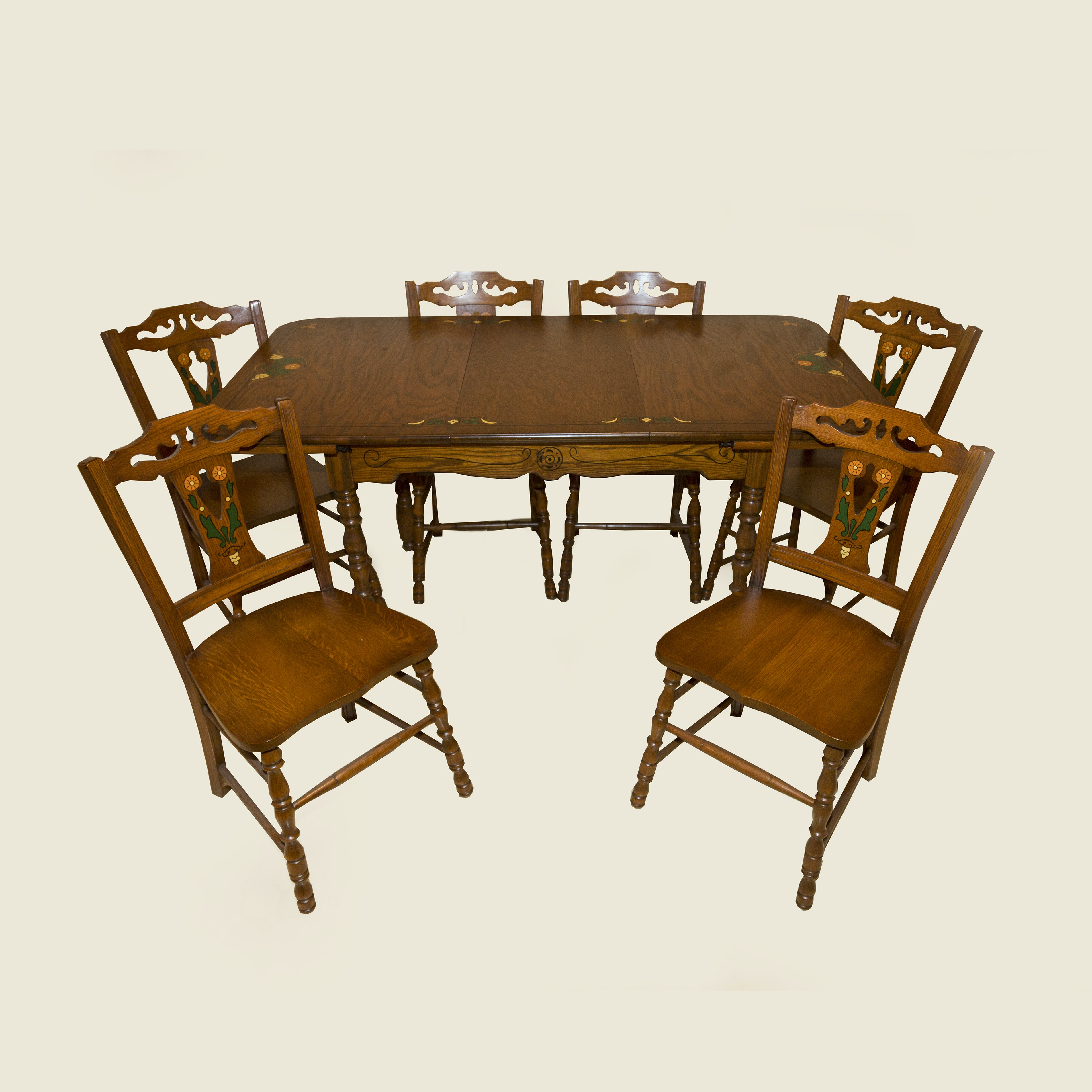 Vintage Oak Dining Table with Six Chairs by Watertown Table-Slide Corporation