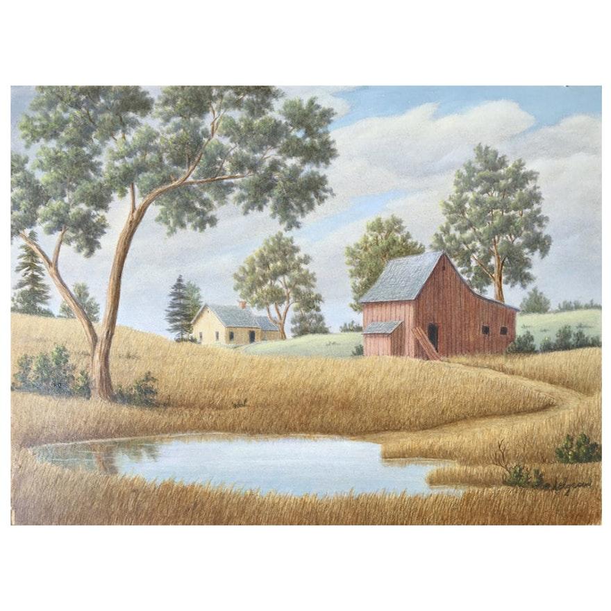 Barnyard Landscape By Helen Helgesen 1950s