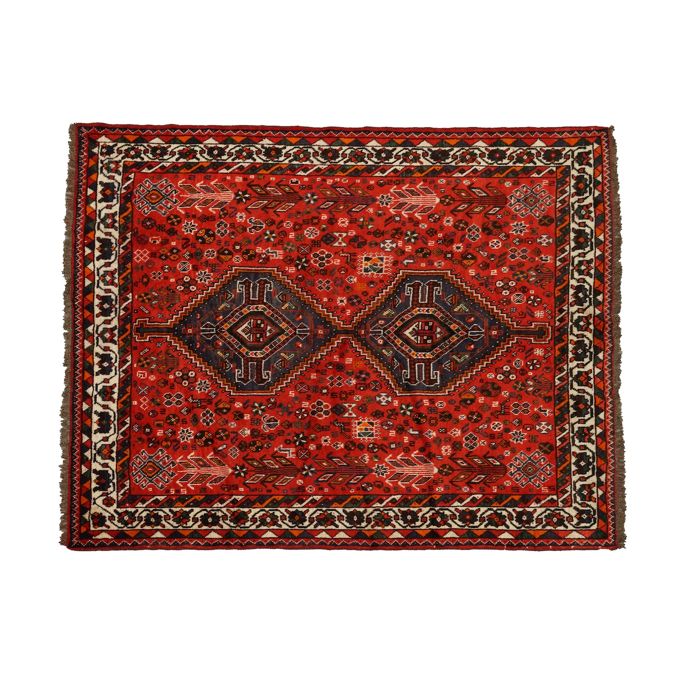 Hand Knotted Persian Wool Area Rug Ebth: Hand-Knotted Persian Shiraz Wool Area Rug