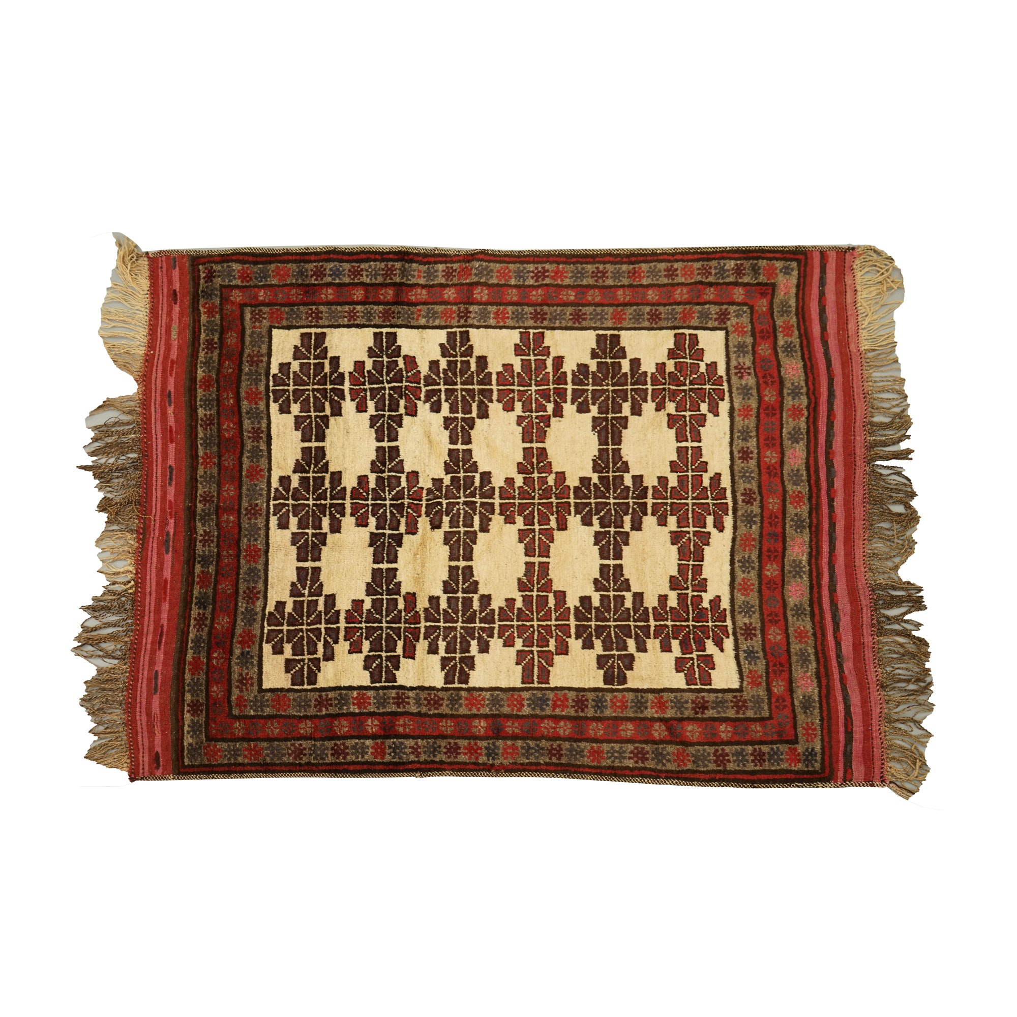 Hand-Knotted Central Asian Tribal Wool Area Rug