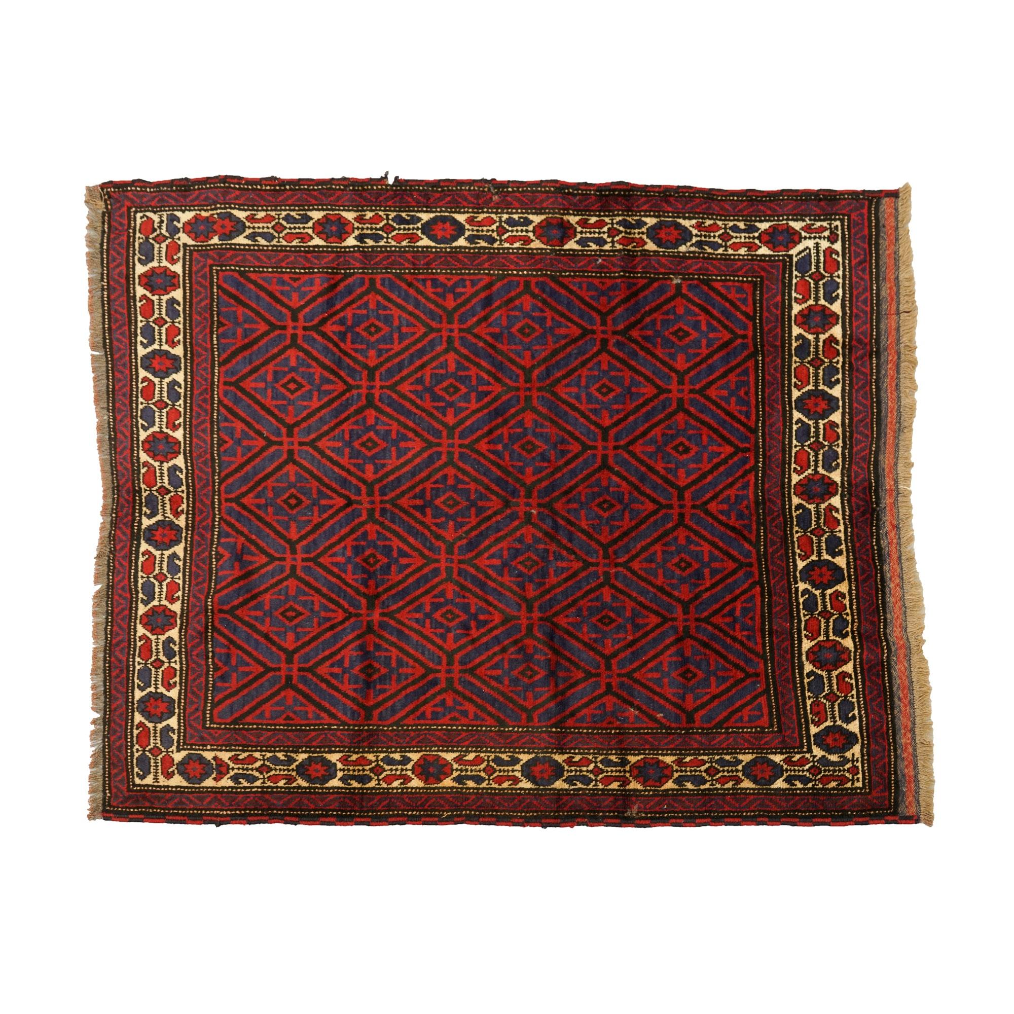 Hand-Knotted Baluch Mashwani Area Rug
