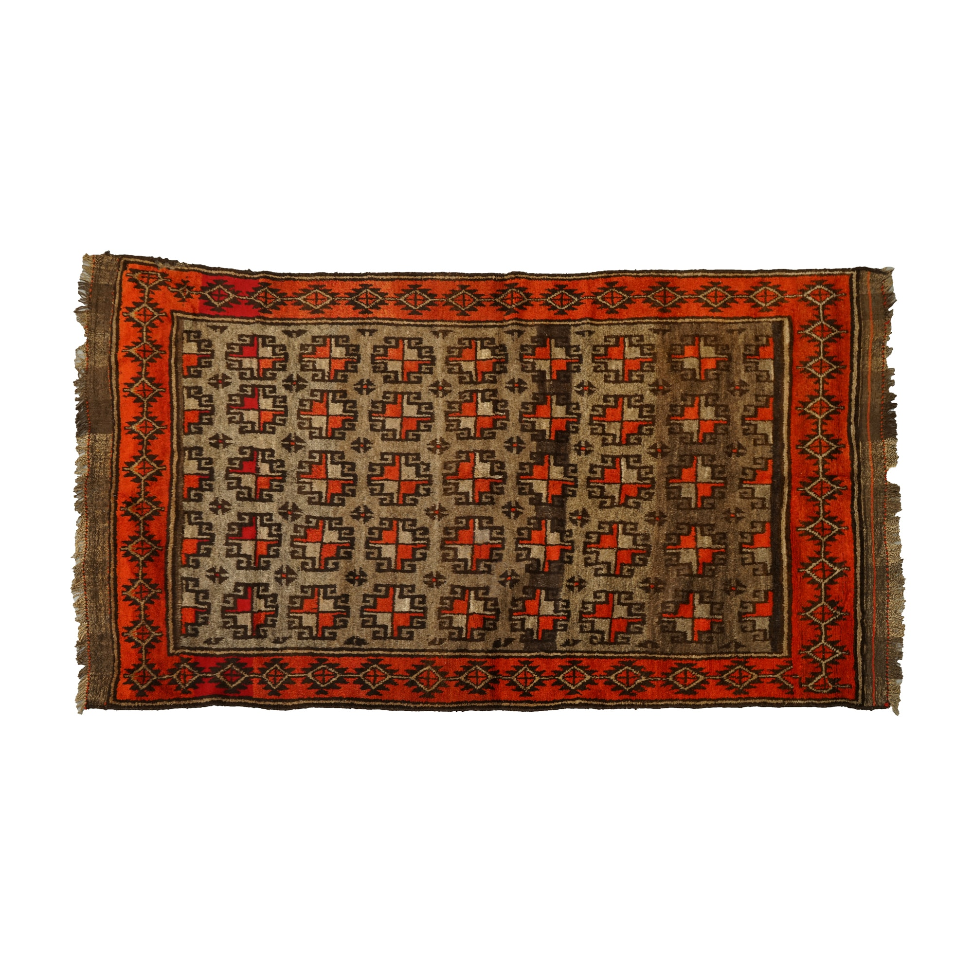 Vintage Hand-Knotted Baluch Wool Area Rug