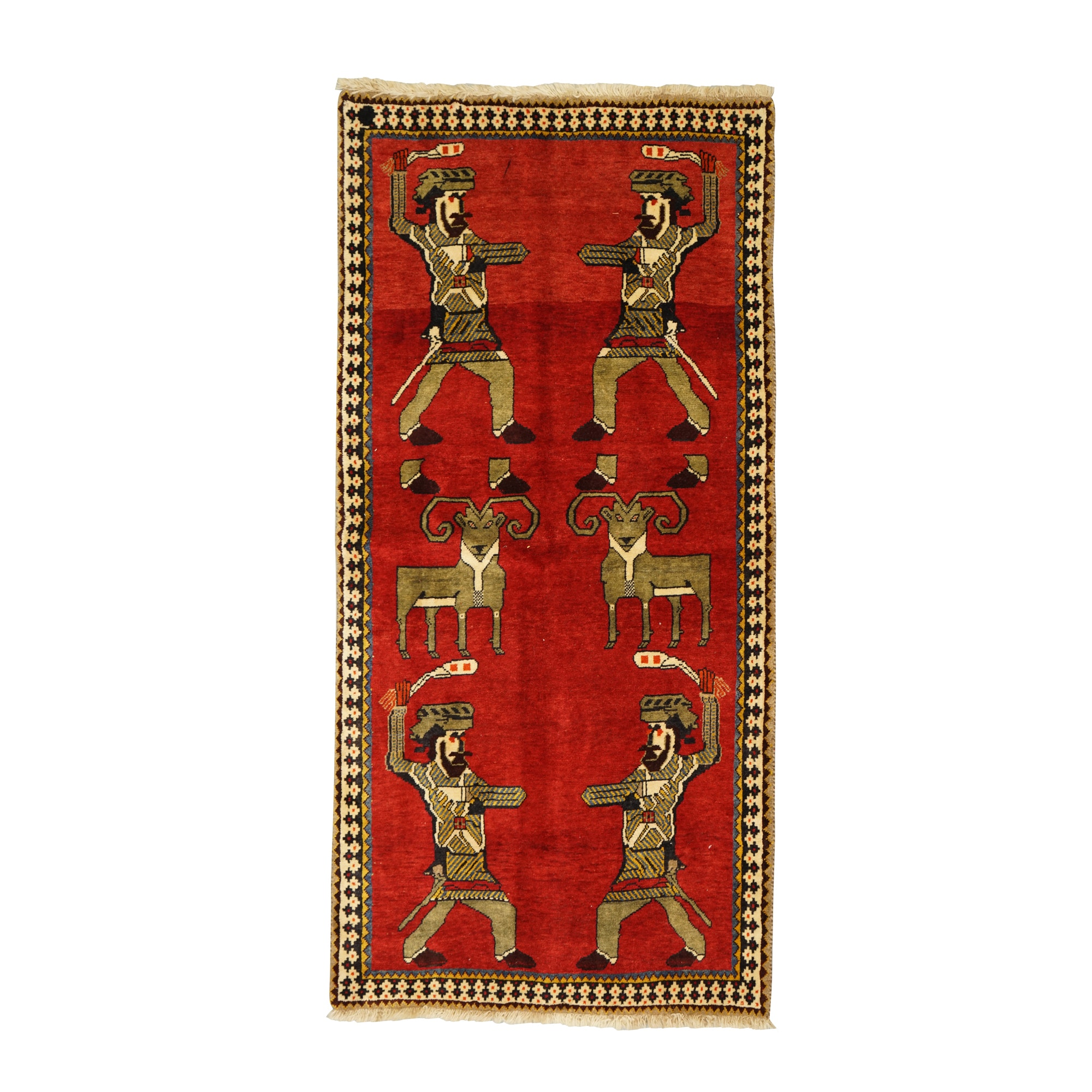Hand-Knotted Persian Qashqai Pictorial Wool Area Rug