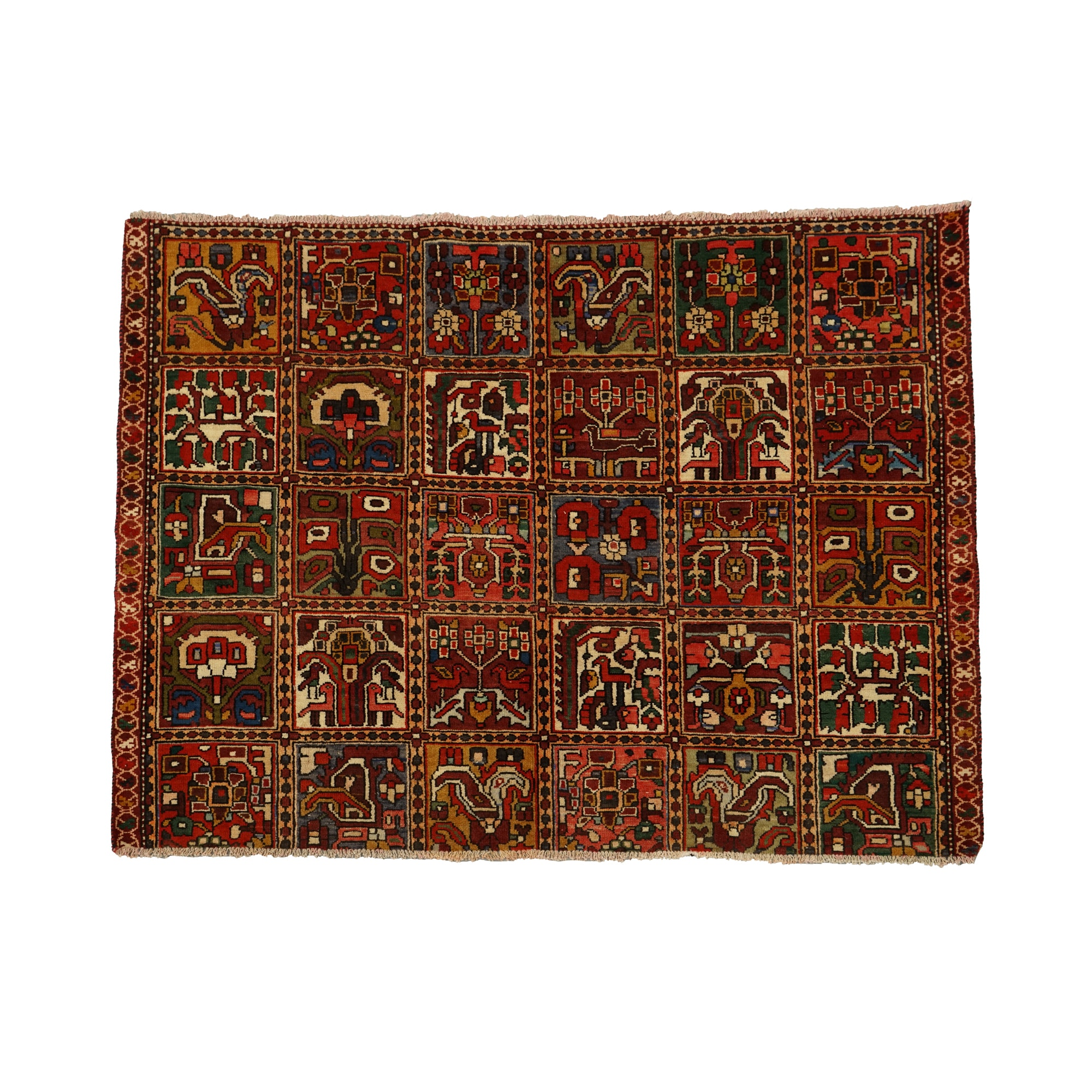 Hand-Knotted Qashqai Garden Panel Area Rug