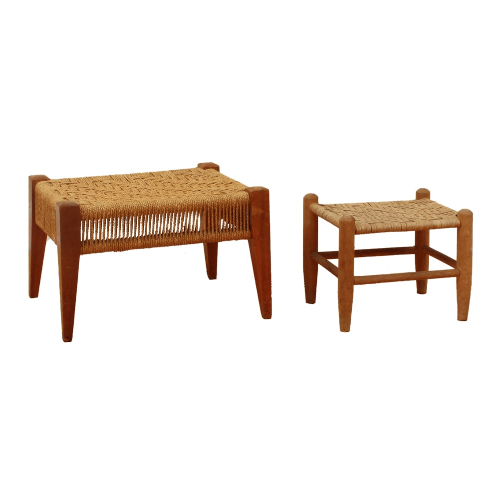 Footstools with Woven Tops