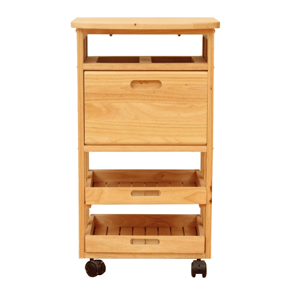 Wood Rolling Printer Stand and Storage Cabinet