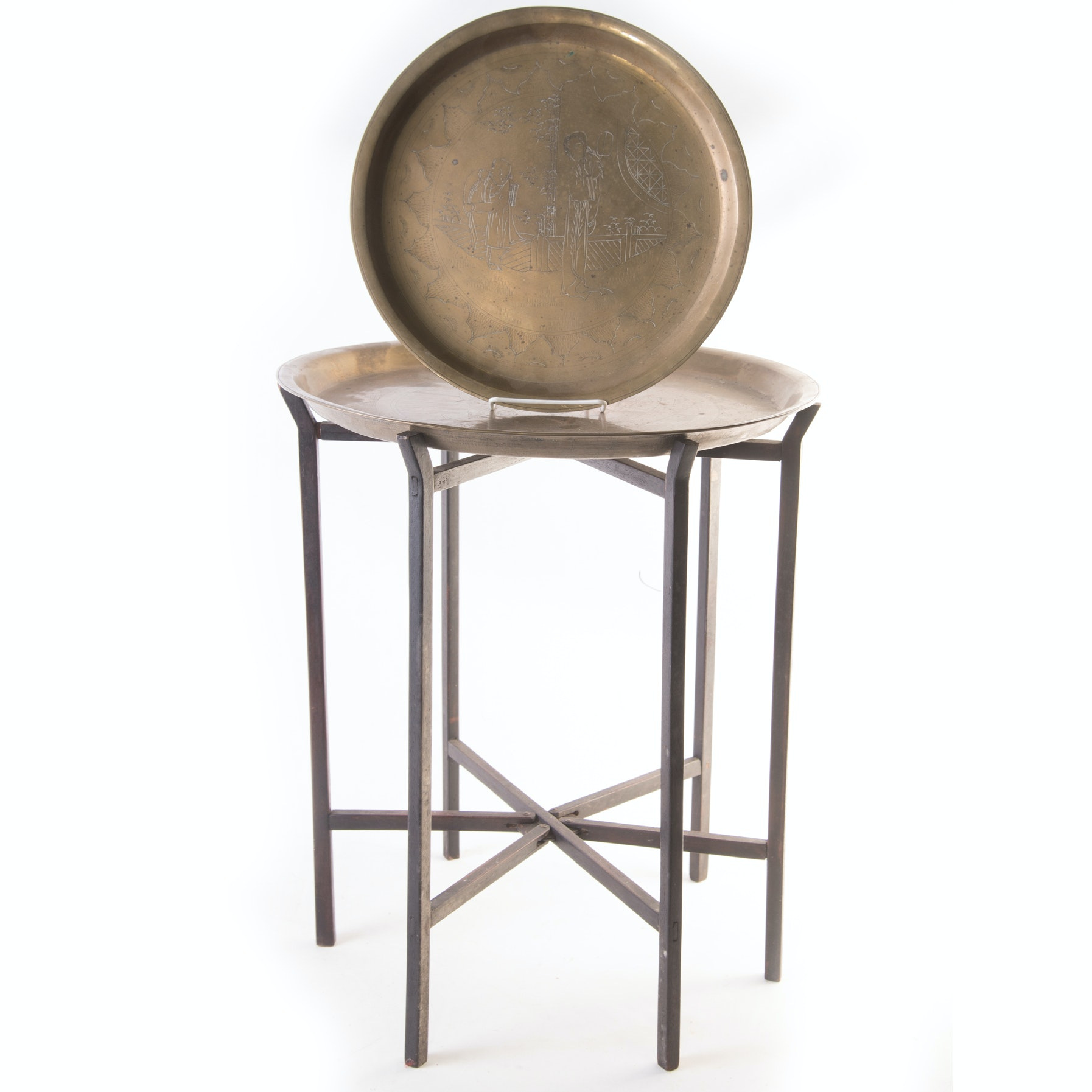 Collapsible Leg Cherry Finish Accent Table With Asian Inspired Brass Tray Top