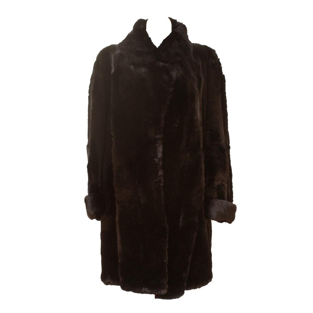 Women's Vintage Lowenthal's Sheared Black Rabbit Fur Coat