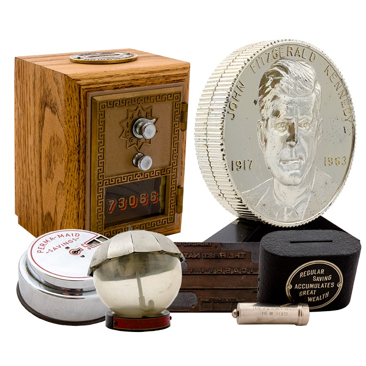 Vintage Collectible Coin Banks and Metal Check Stamps