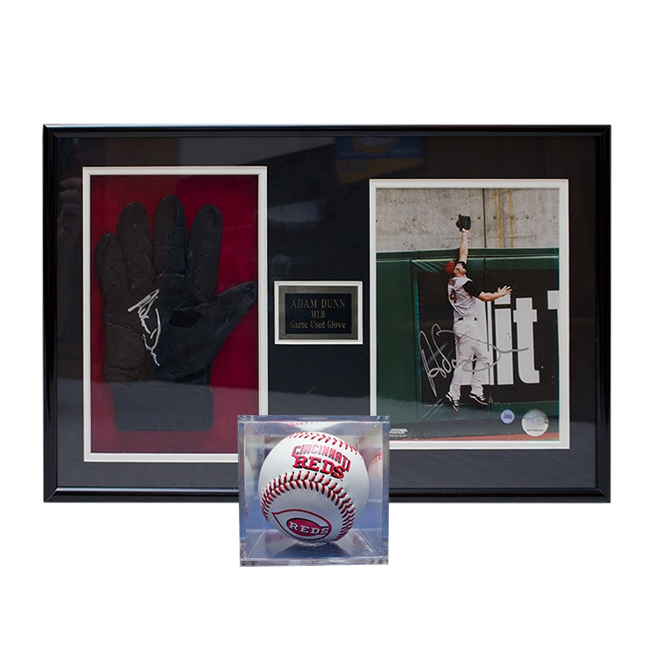 Adam Dunn Framed and Autographed MLB Game Used Glove and Baseball