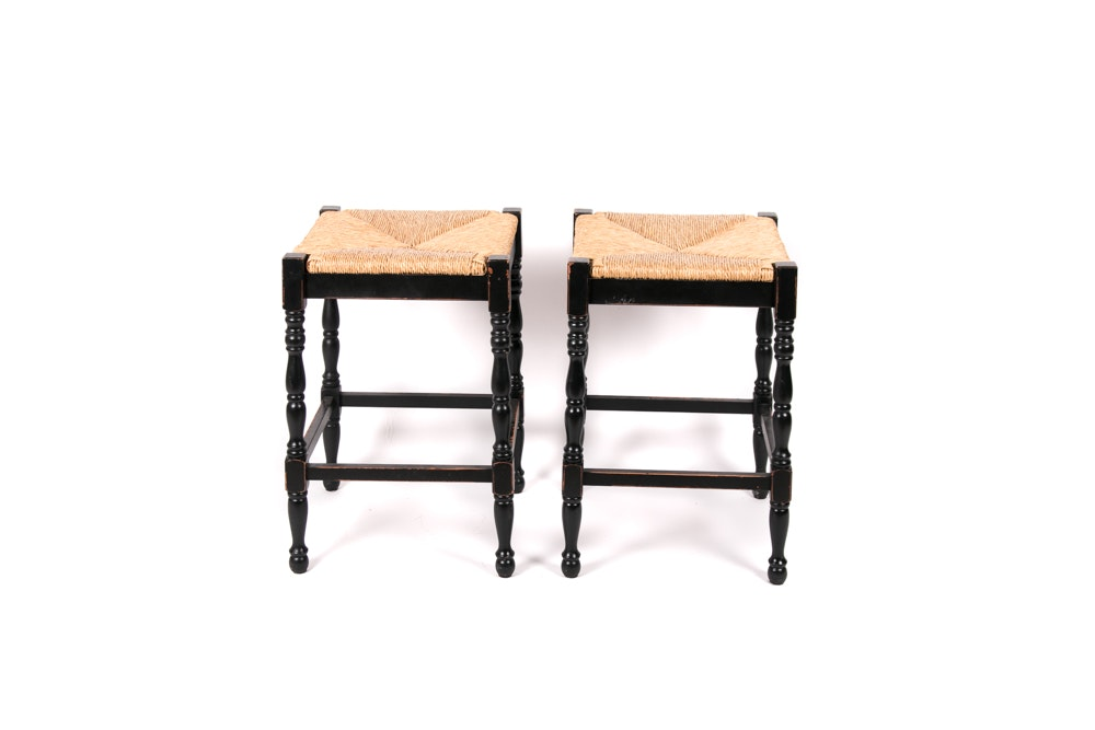 Pair of Rush Seat Counter Stools by Ballard Designs.