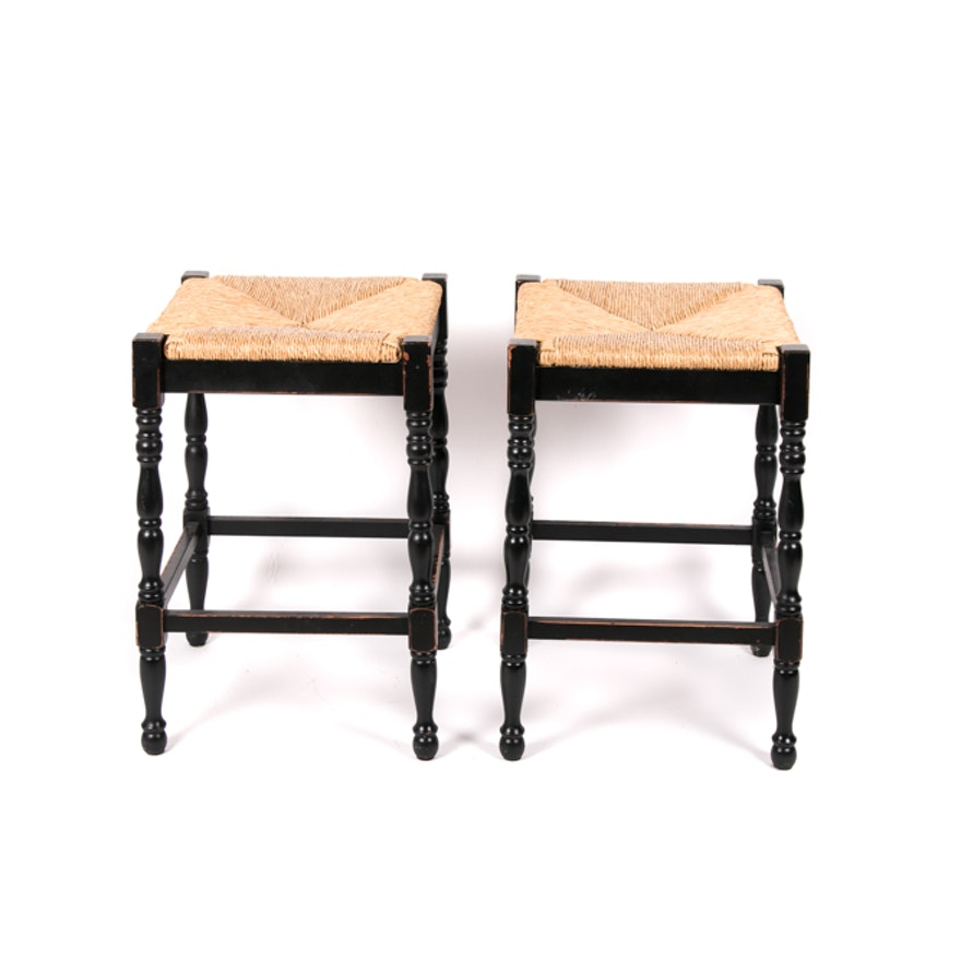 Pair Of Rush Seat Counter Stools By Ballard Designs