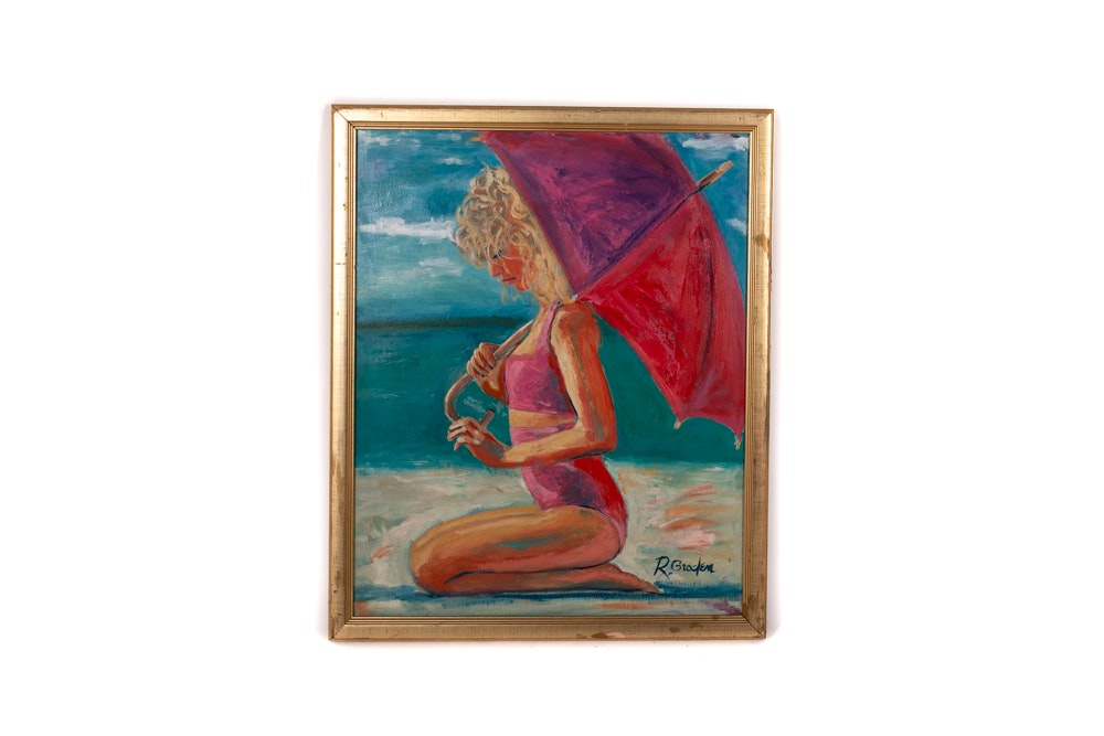 "Randy Groden ""Pink Umbrella"" Original Oil on Board"