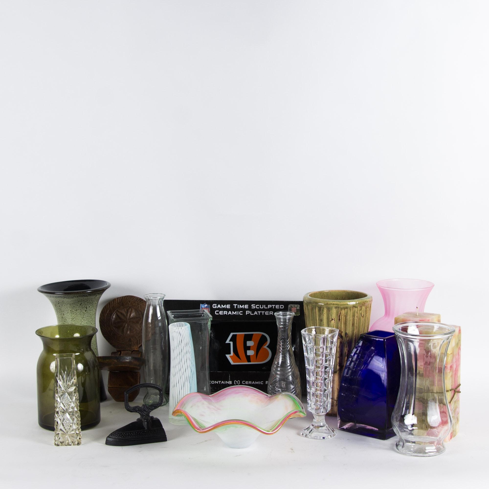 Assortment of Glass and Ceramic Home Decor
