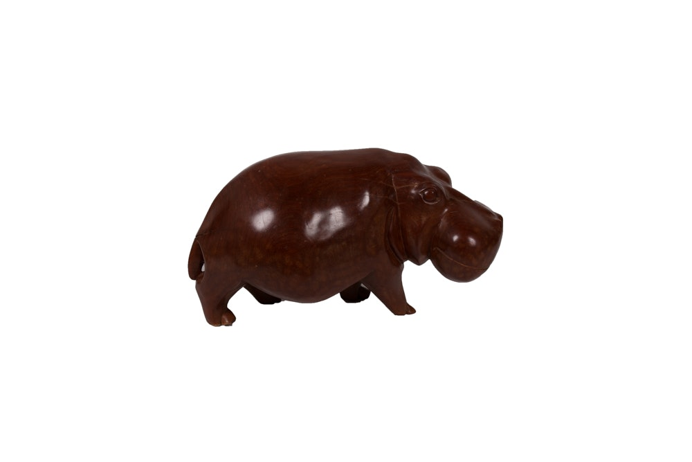 Hand Carved Wooden Hippo Figure