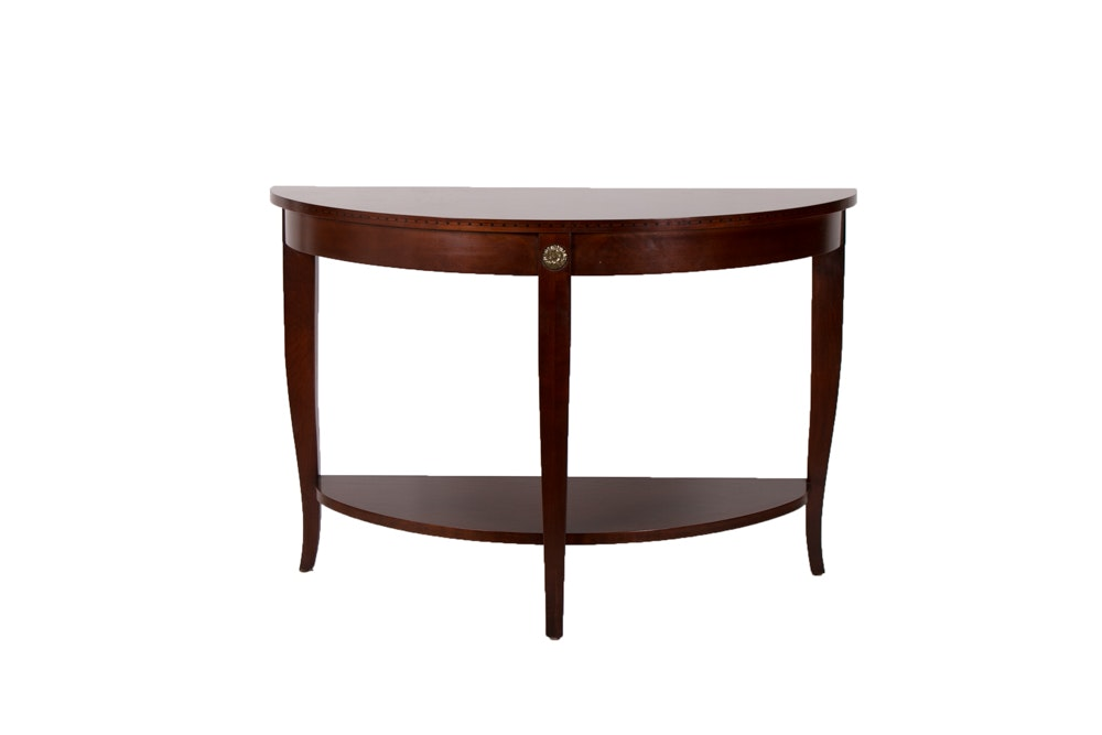Mahogany Finish Demi Lune Accent Table by Ethan Allen