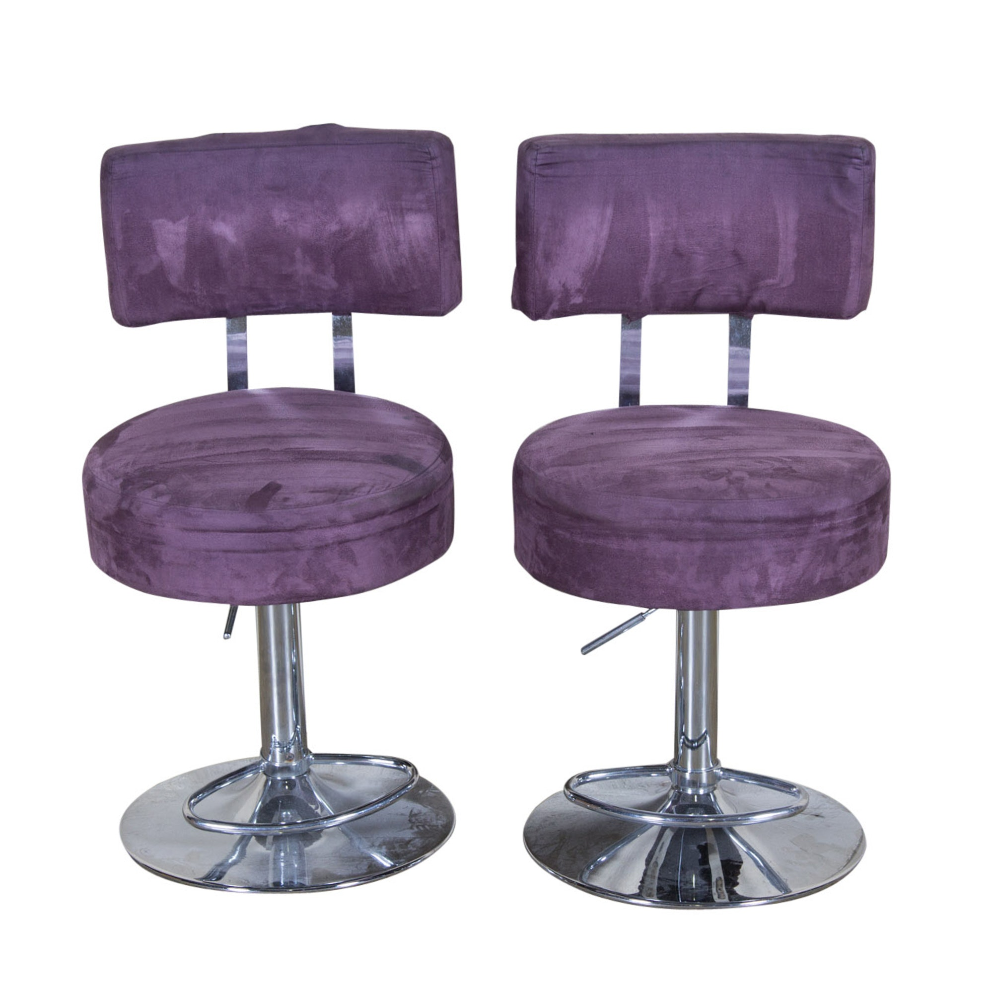 Two Microfiber Upholstered Purple Chairs