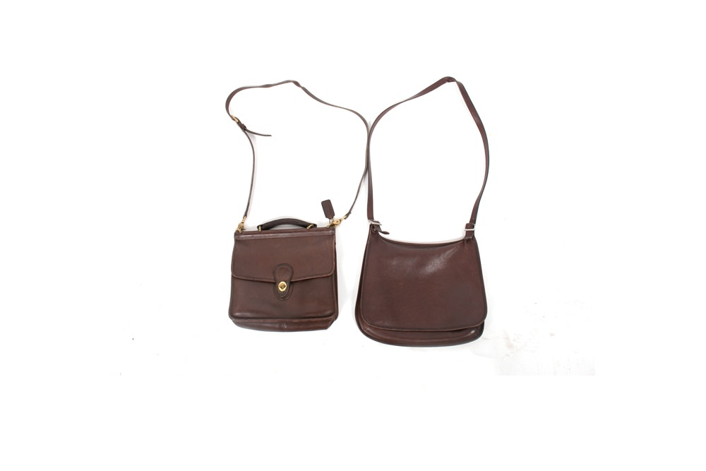 Vintage Coach Brown Leather Willis and Hippie Flap Bags