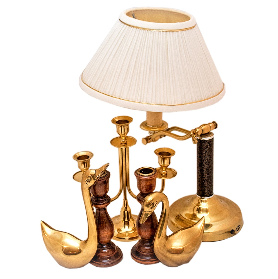 Desk Lamp and Collection of Brass Home Decor