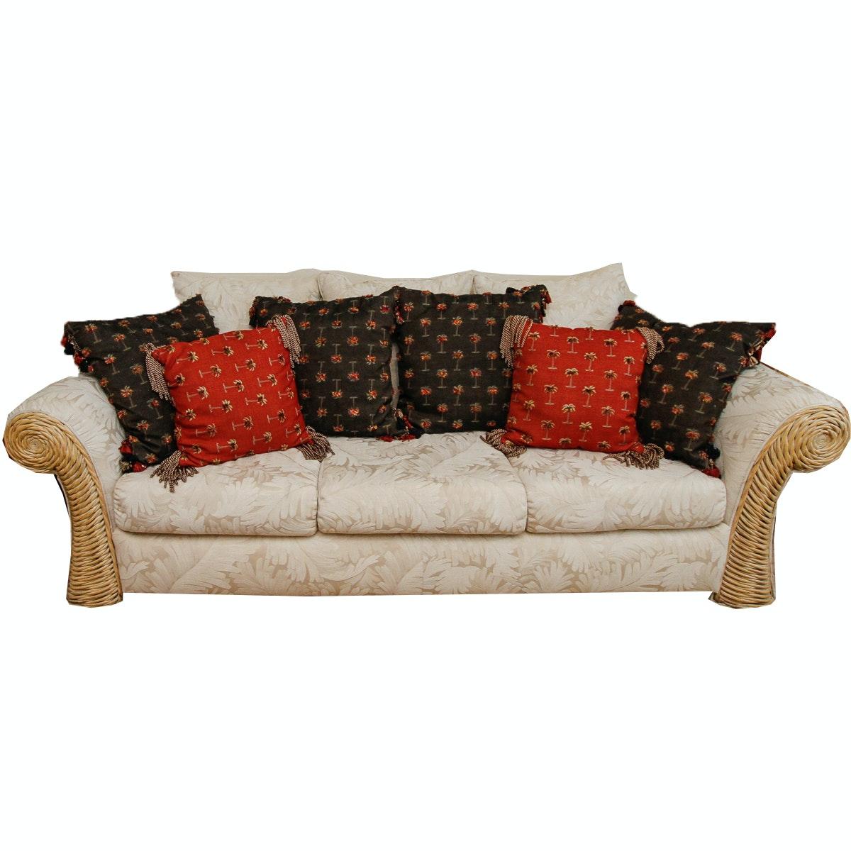 Wicker Accented Coastal Motif Sofa