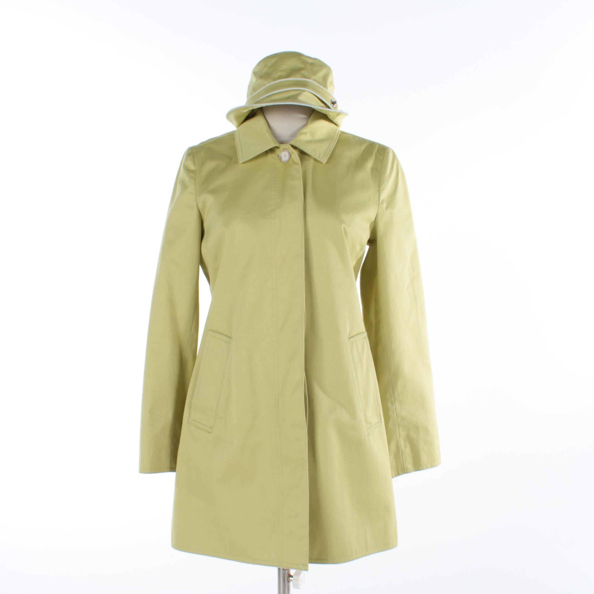 Coach Light Green Spring Coat and Bucket Hat