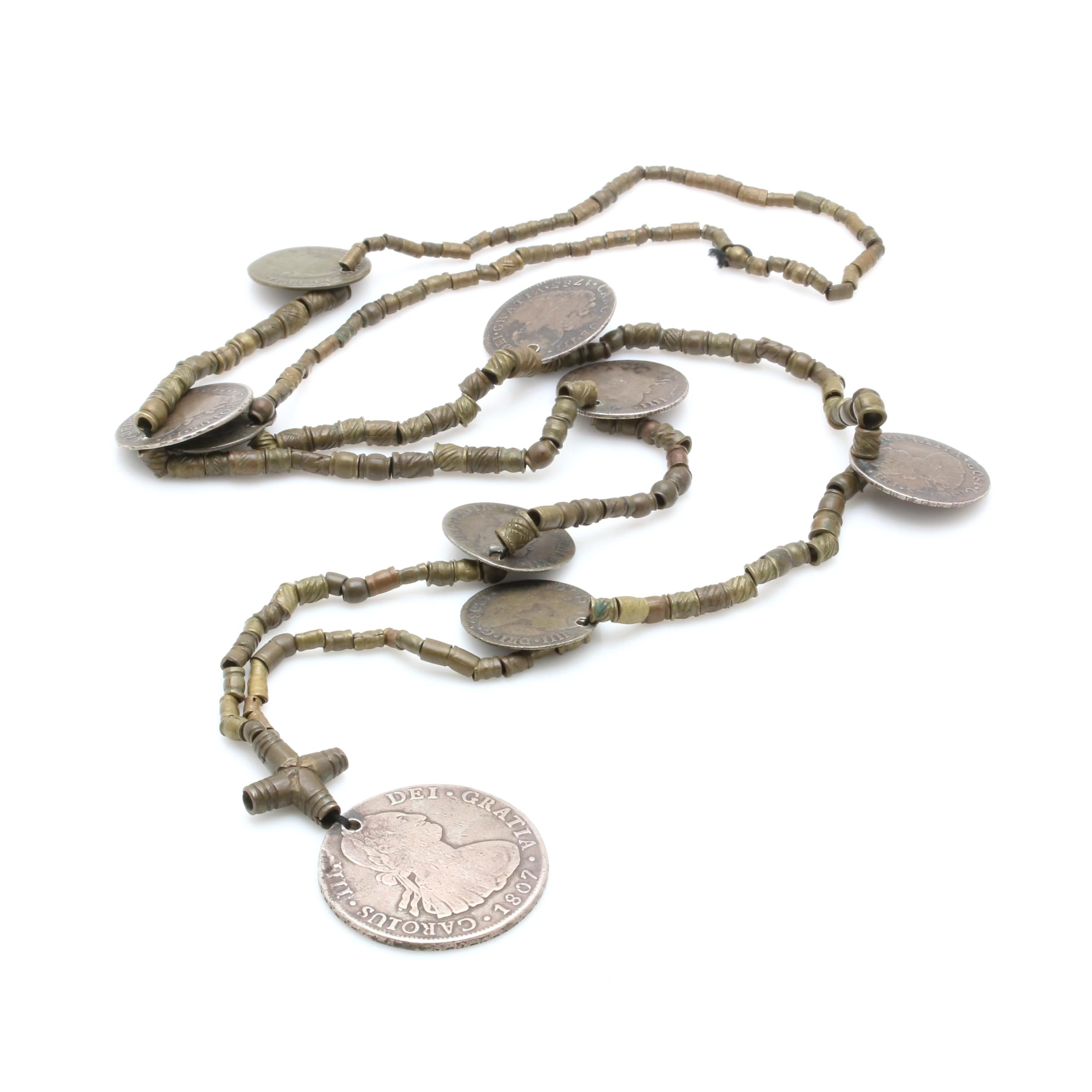 Moroccan Berber Style Necklace with Antique Silver Mexican and Ecuadorian Coins