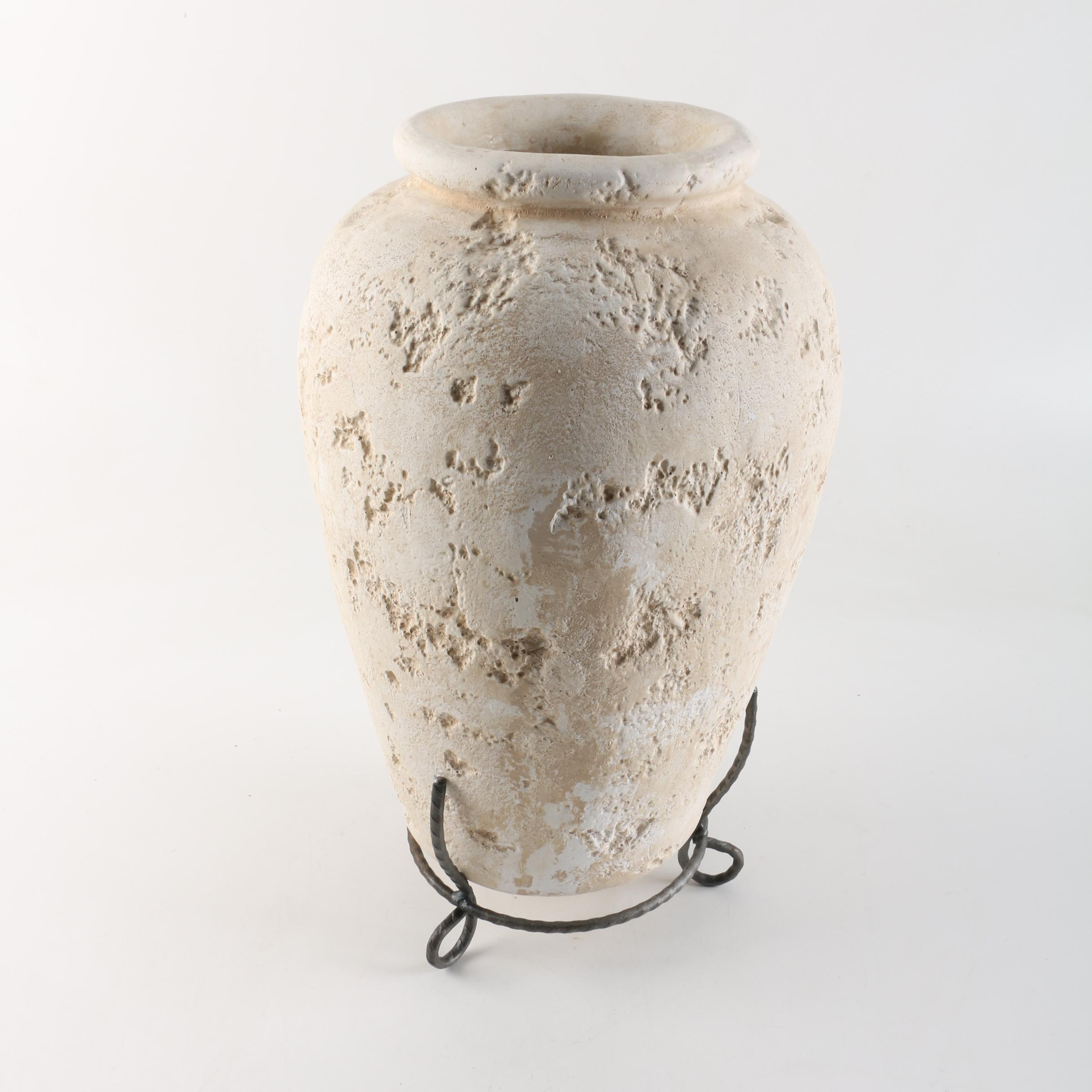 Ceramic Vase with Metal Stand