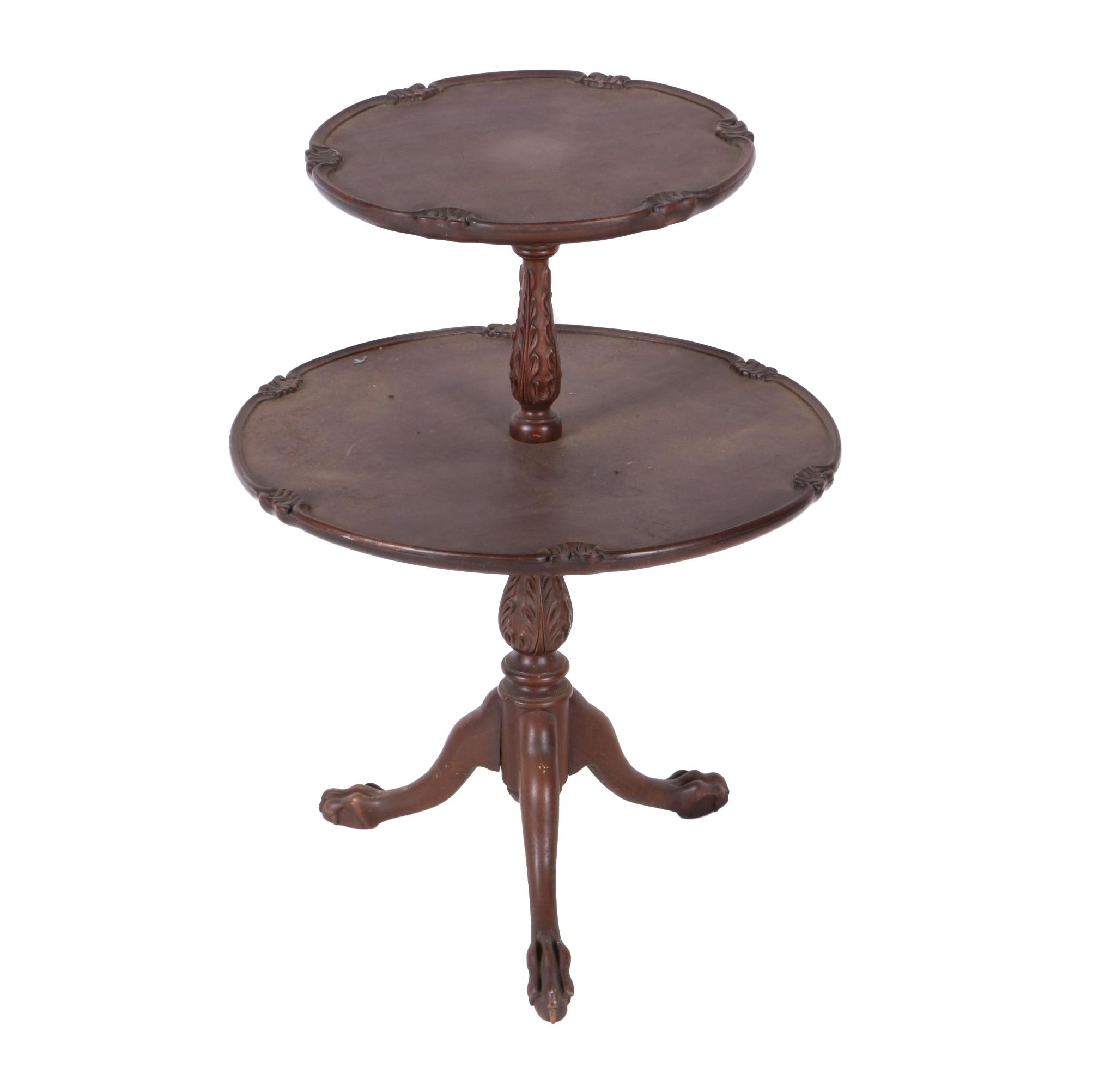 Vintage Queen Anne Style Mahogany Dumbwaiter Table