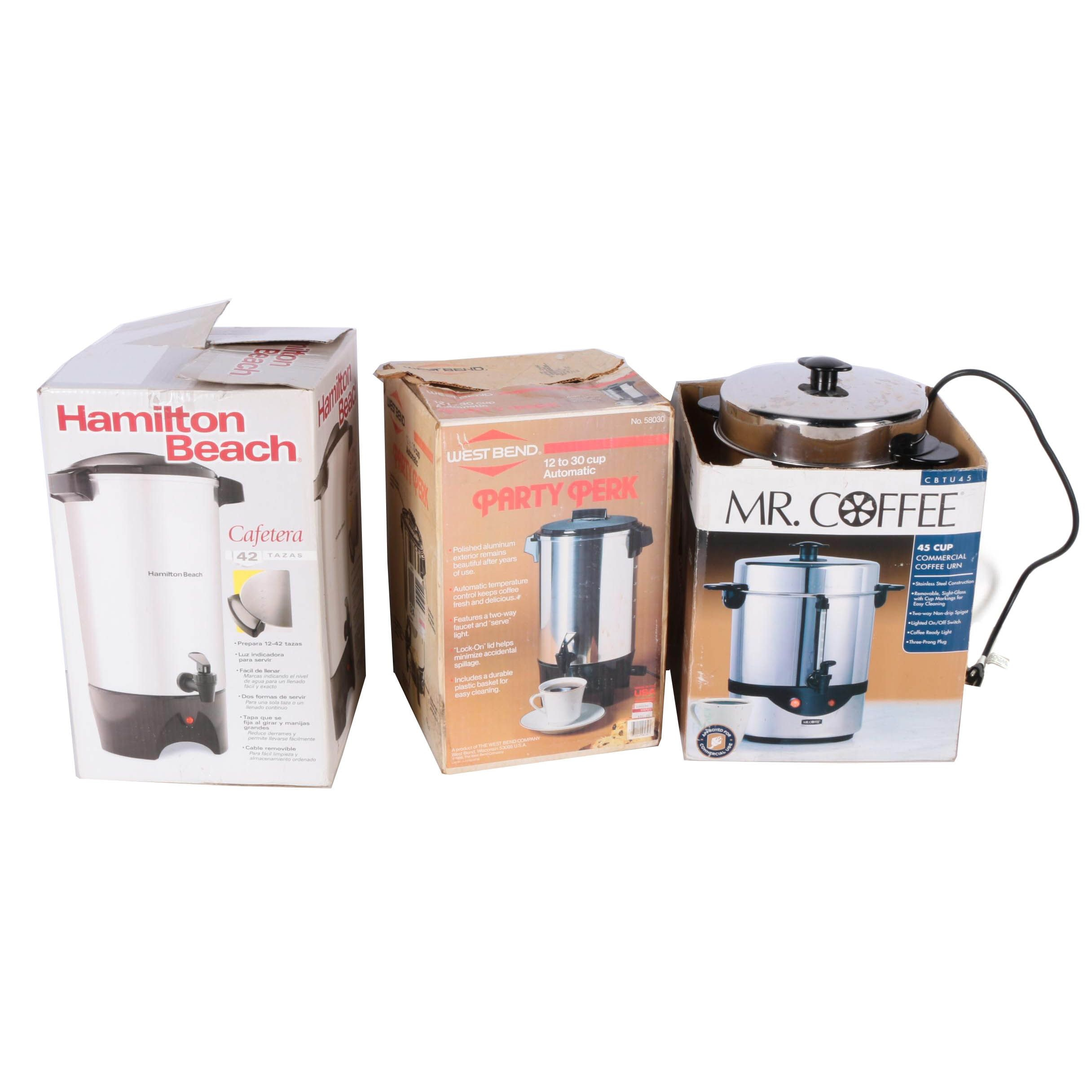 Hamilton Beach, Mr. Coffee, and West Bend Coffee Urns