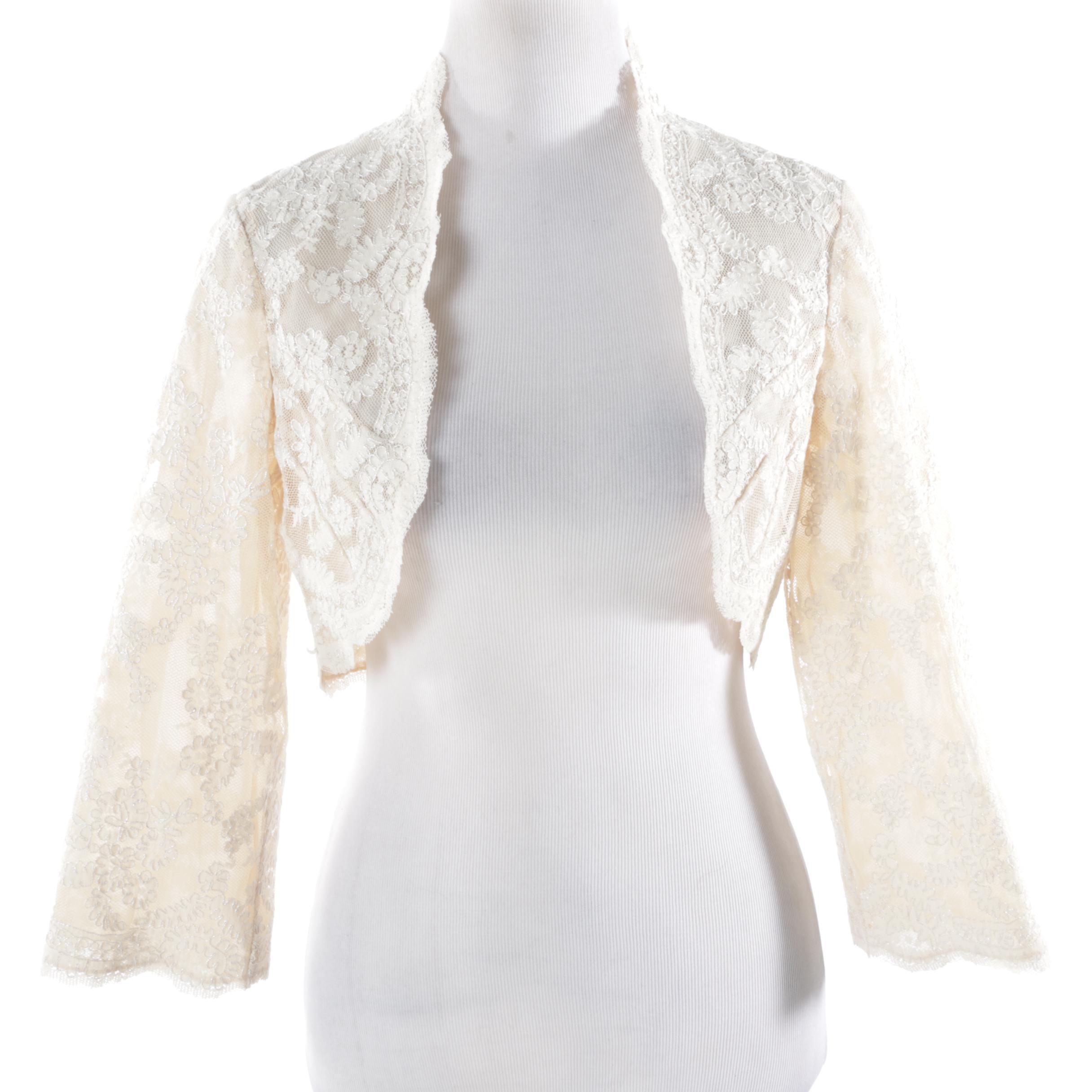 Lillie Rubin Cream-Colored Lace Bolero Jacket
