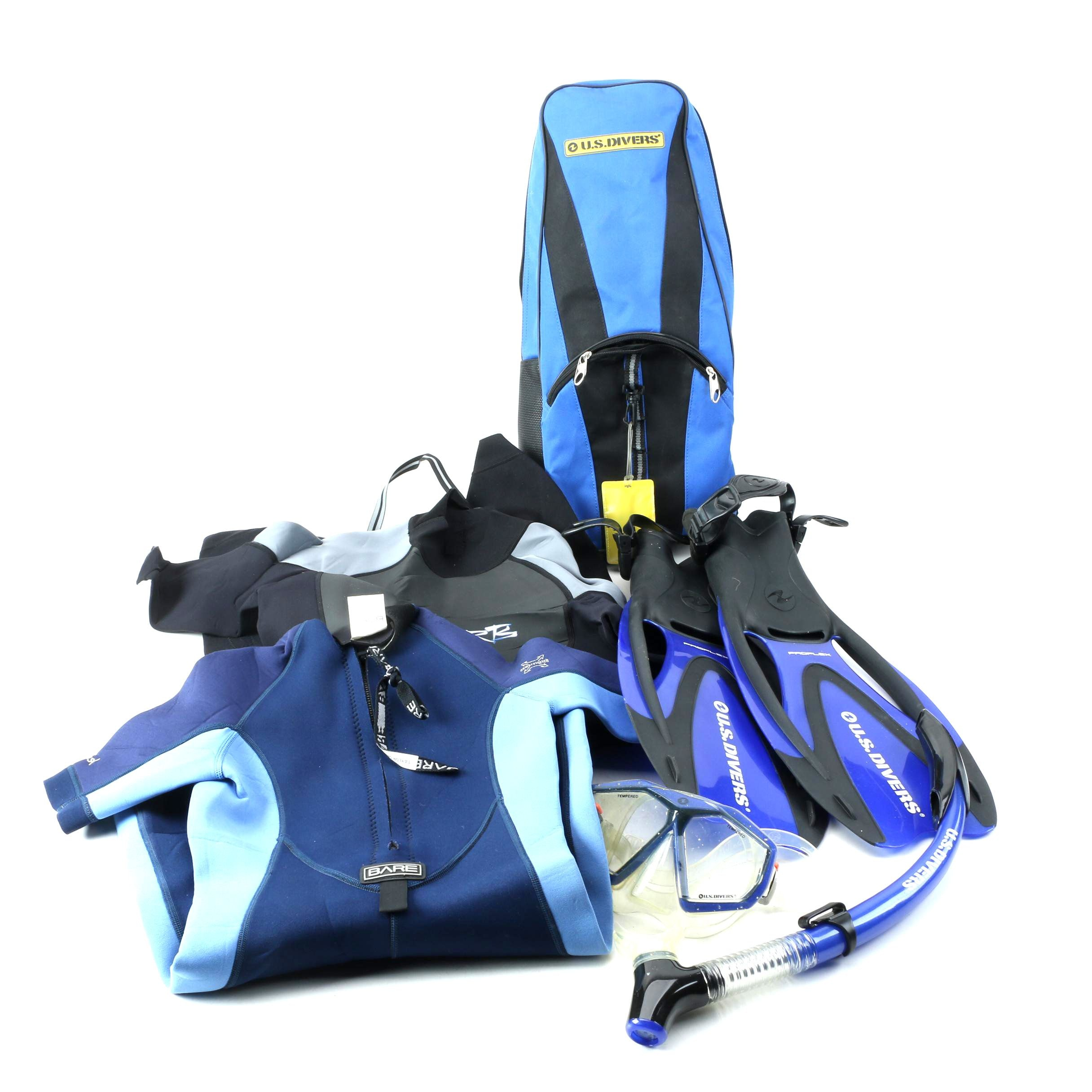 U.S. Divers Snorkeling Equipment with Bare and HO Sports Wetsuits