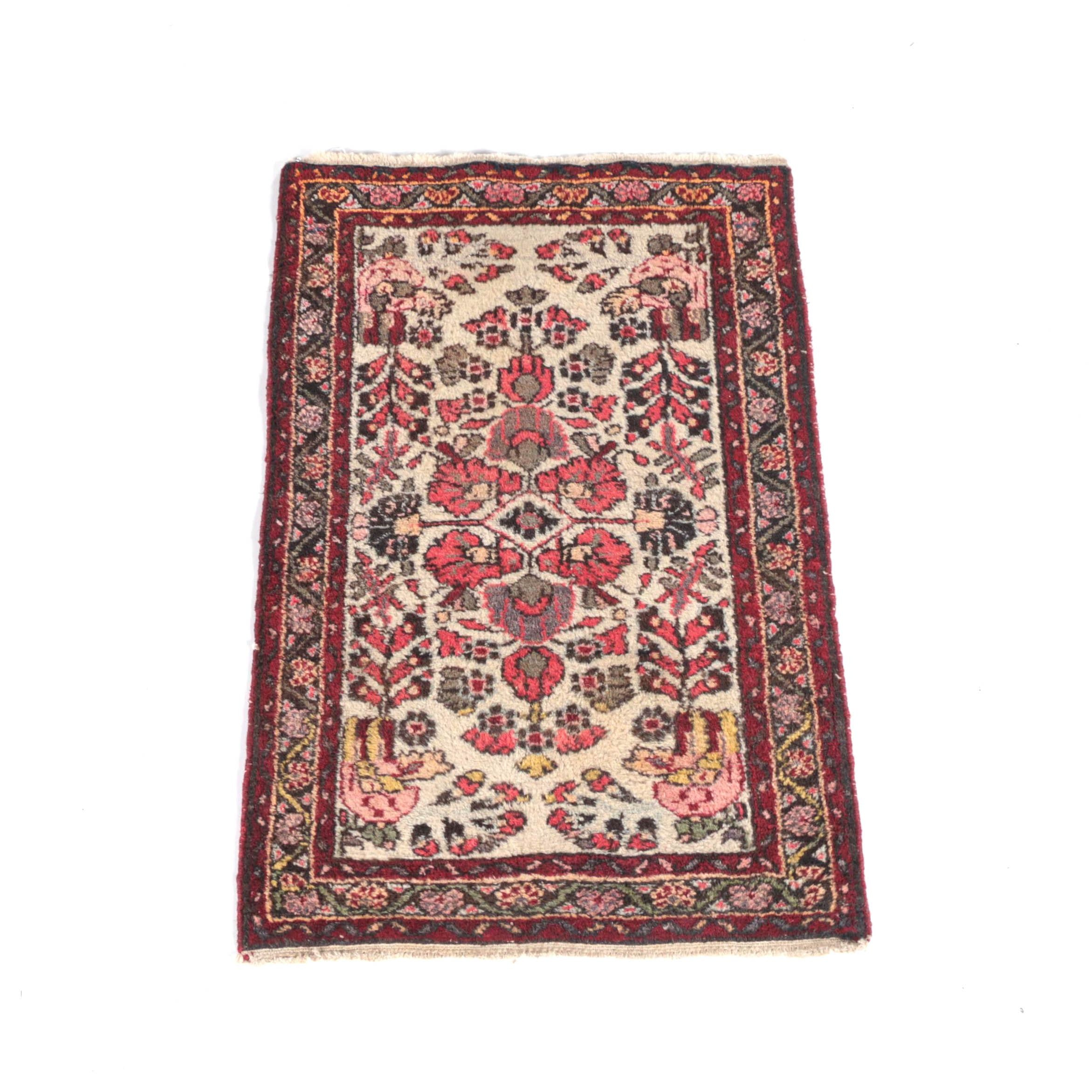 Vintage Hand-Knotted Persian Wool Accent Rug