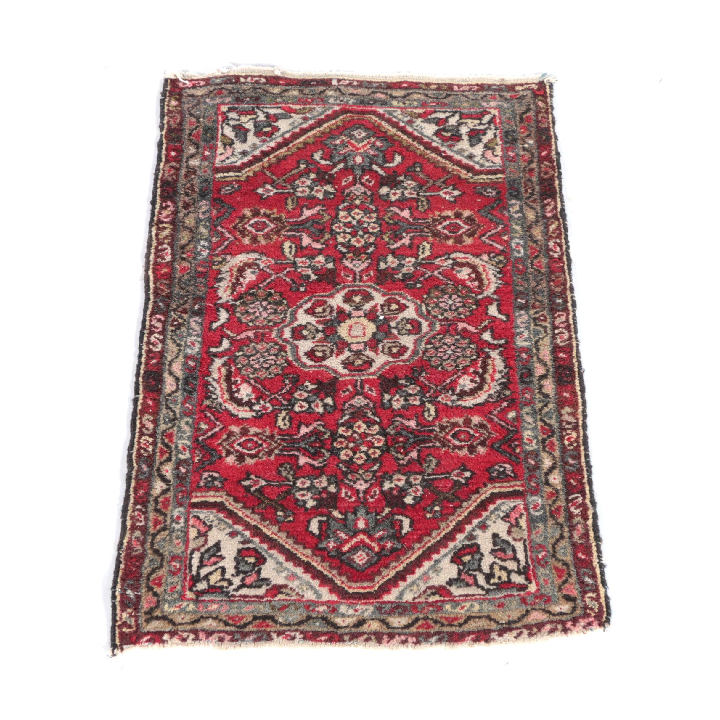 Vintage Hand-Knotted Persian Sarouk Wool Accent Rug