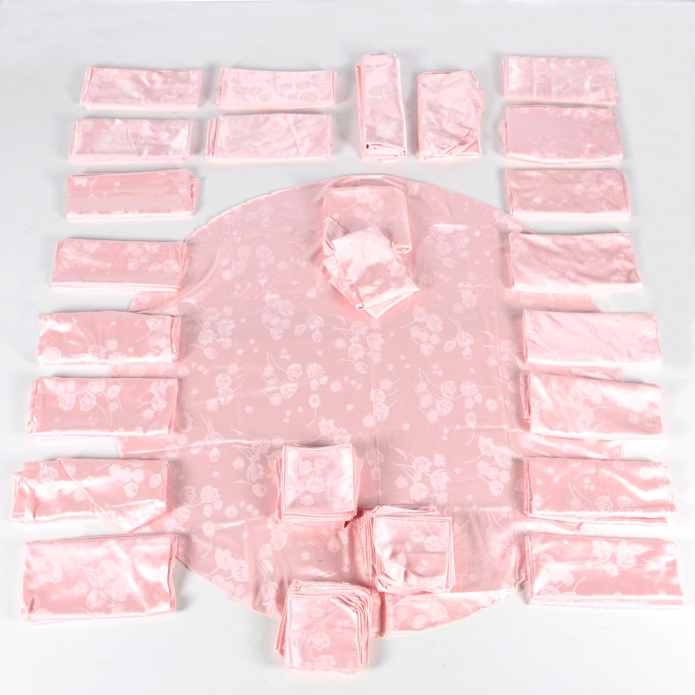 Pink Tulip and Daisy Round Tablecloths and Napkins