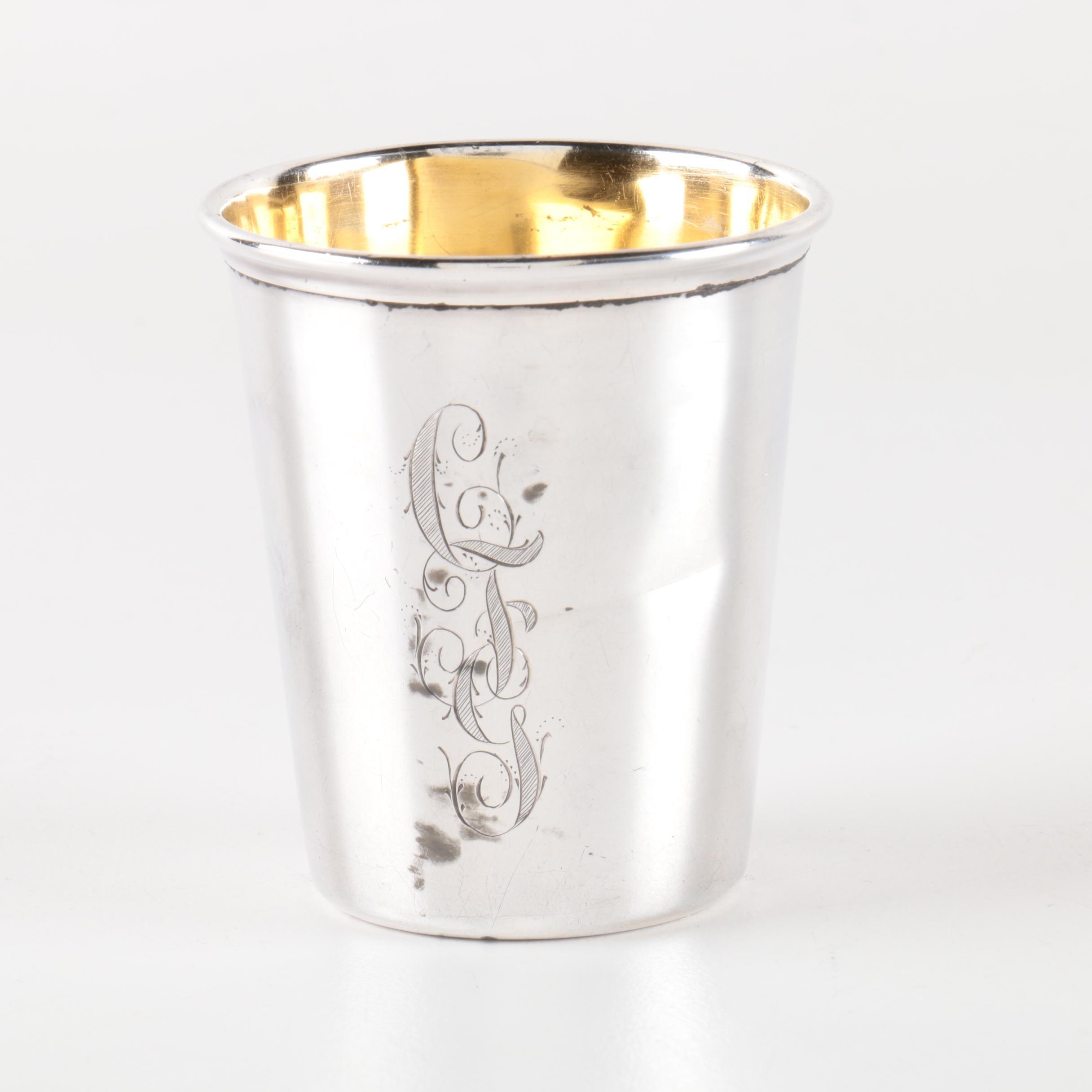 20th Century Gorham Sterling Silver Monogrammed Shot Glass