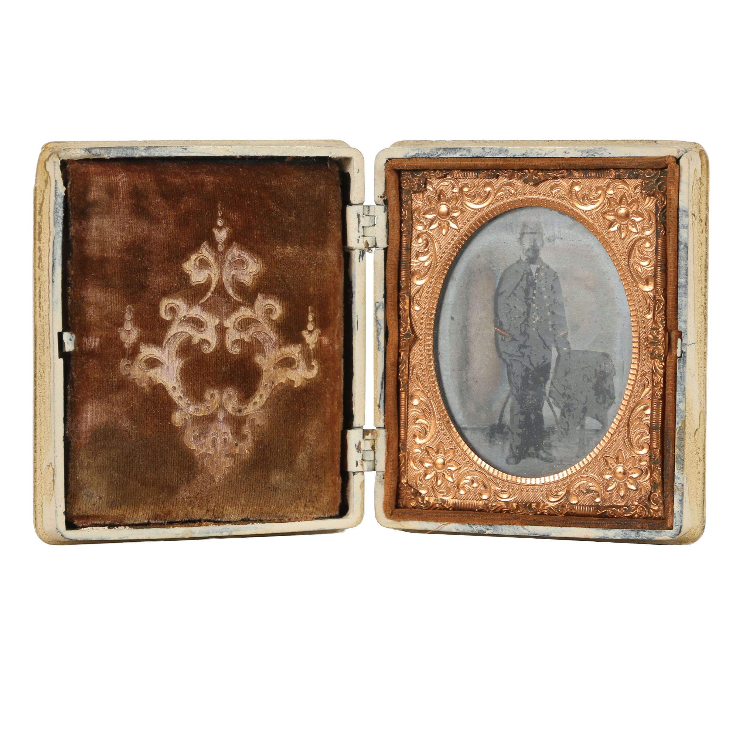 Antique Ambrotype of Civil War Soldier in Wood Case