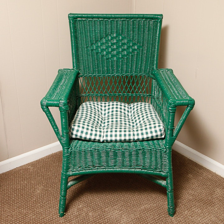 Vintage Painted Wicker Armchair