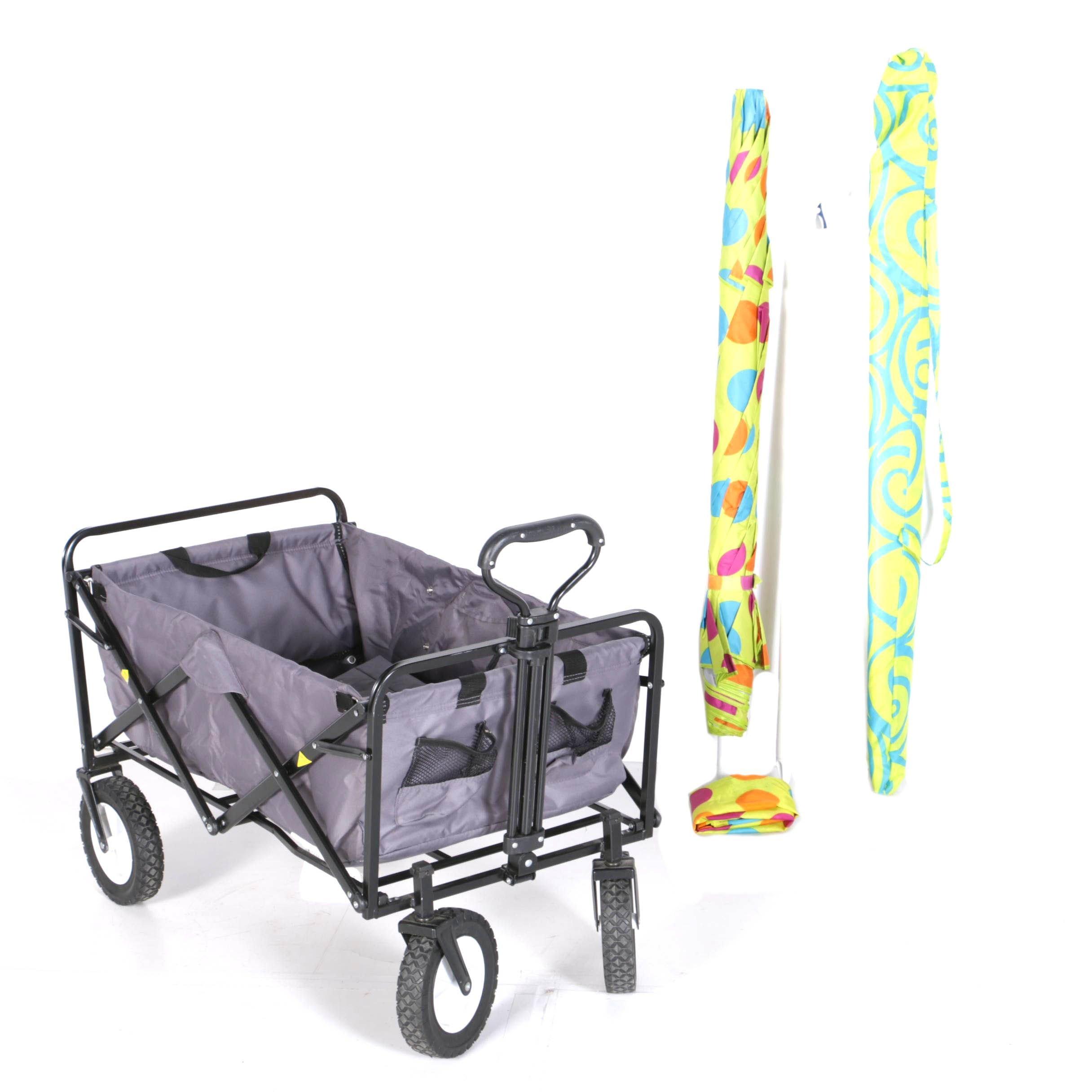 Beach Umbrellas with Folding Pull-Along Cart