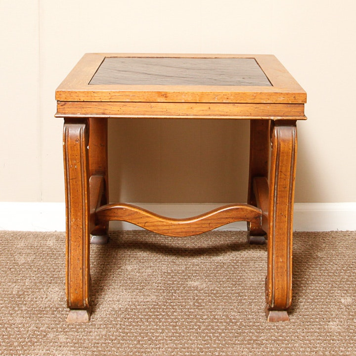 Mediterranean Style Slate Top Side Table