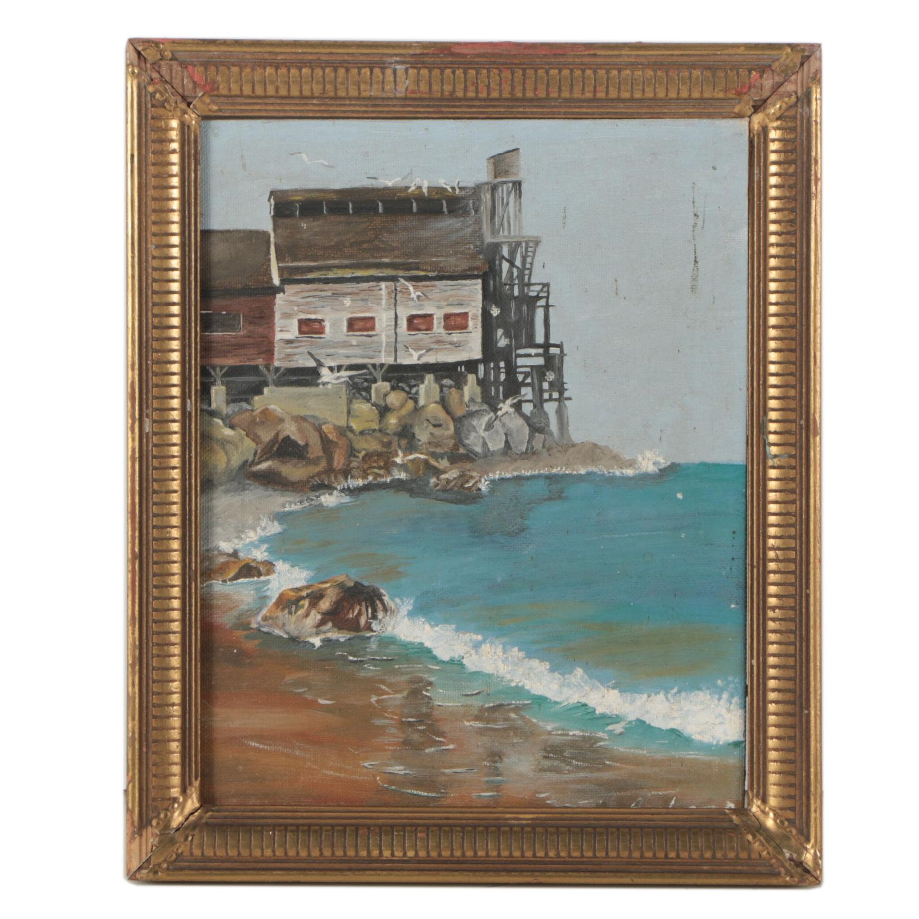 Vintage Oil Painting of Coastal Landscape