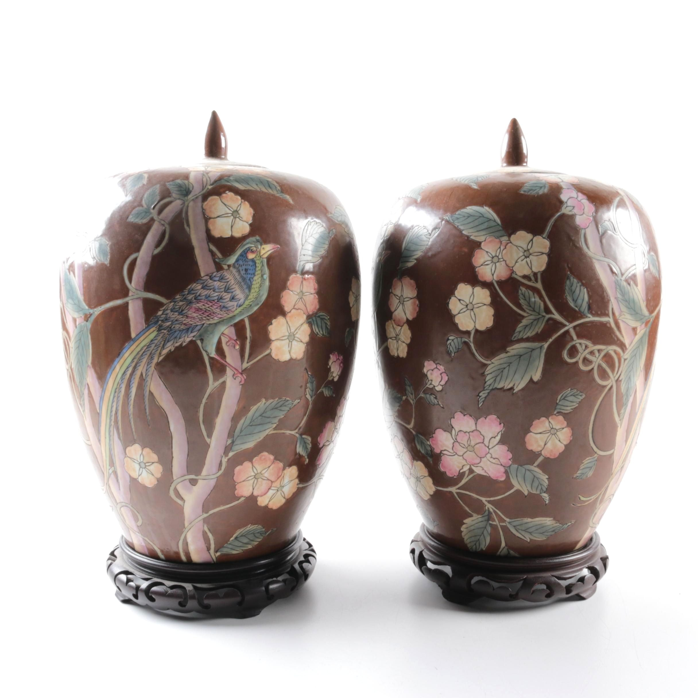 ChineseBird and Floral Motif Porcelain Ginger Jars with Wooden Stands