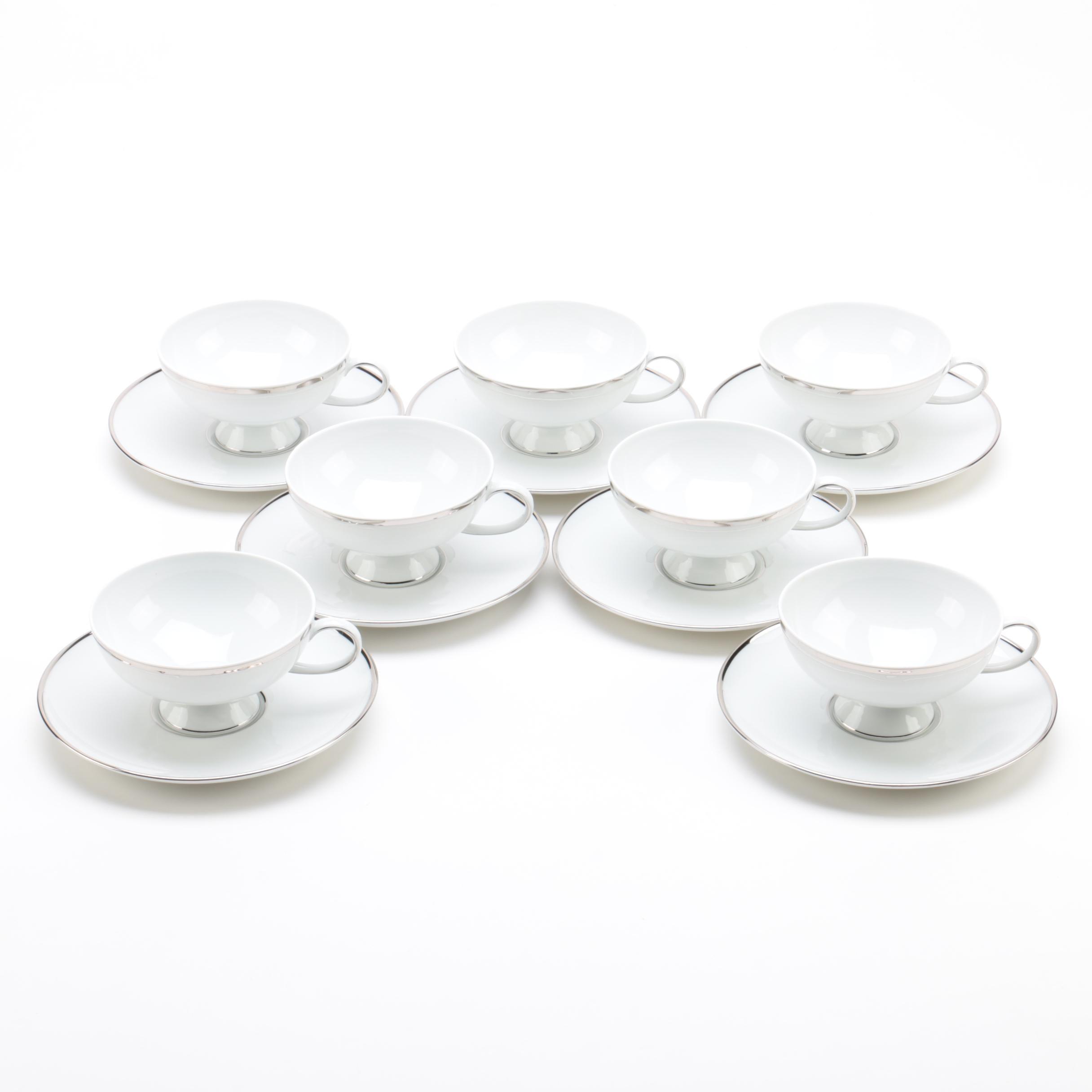 Gerold Porzellan 'Gracious Lady' Porcelain Teacups and Saucers