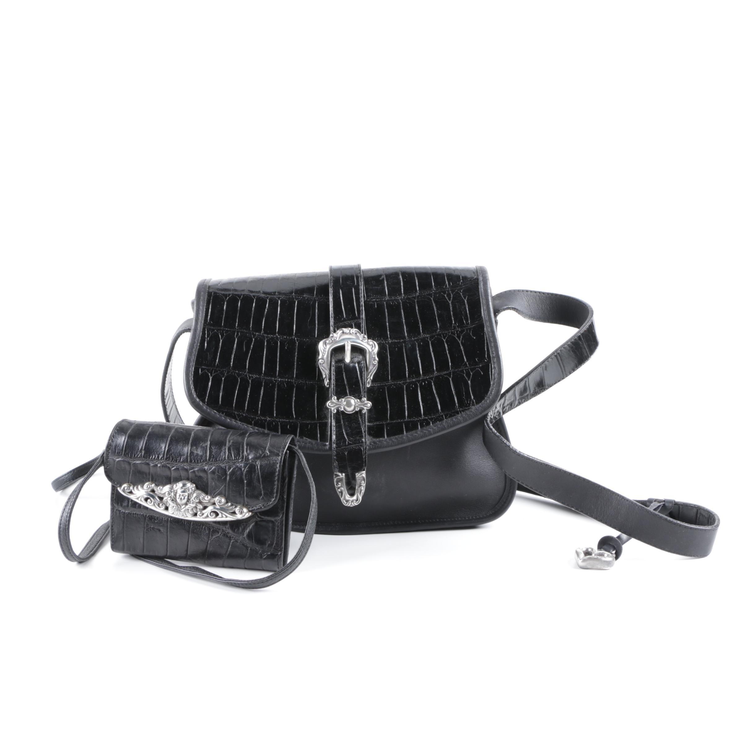 Brighton Black Leather Saddle Handbag and Crossbody Wallet