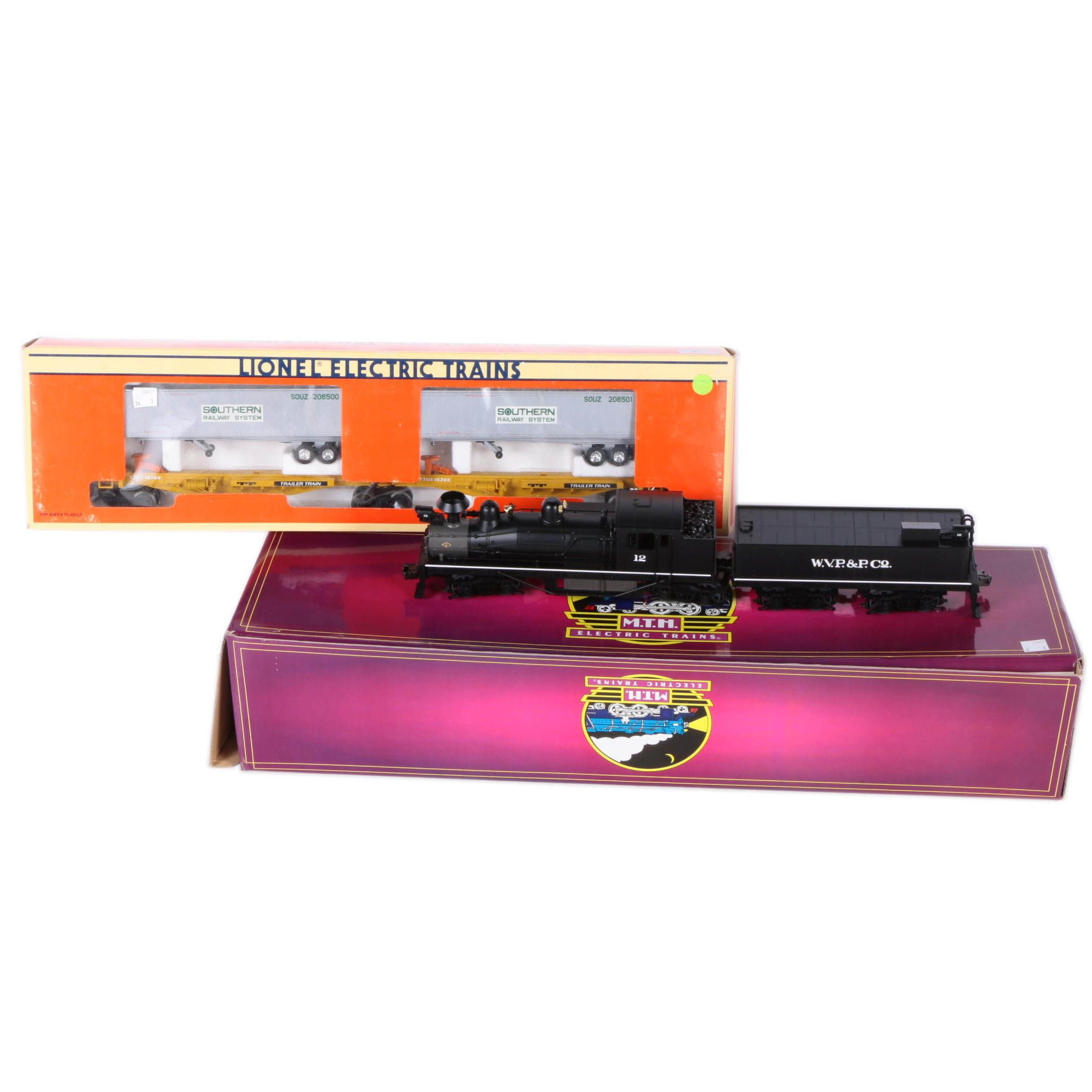 M.T.H. Electric O Scale 2 Rail Steam Engine and Lionel Southern T.T.U.X. Cars